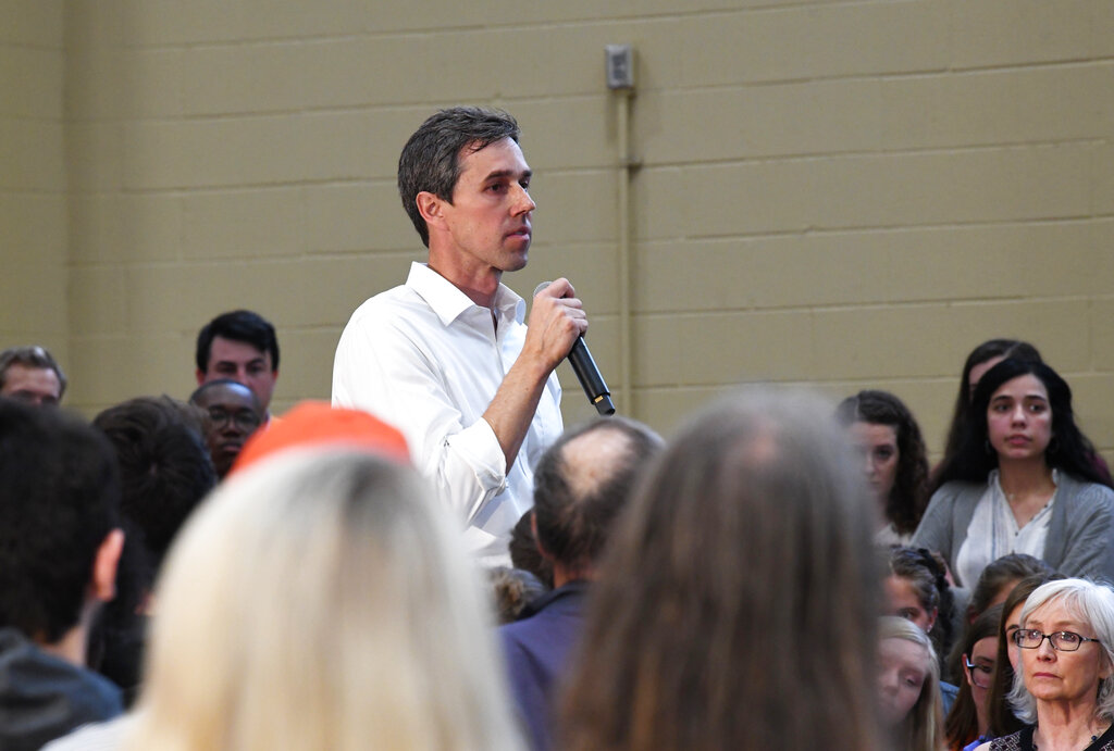 Former Texas Congressman Beto O'Rourke speaks to students at Clemson University in Clemson, S.C., Sunday, April 14, 2019. O'Rourke is wrapping up a three-day tour of South Carolina, which holds the first presidential primary voting in the South. (AP Photo/Meg Kinnard)