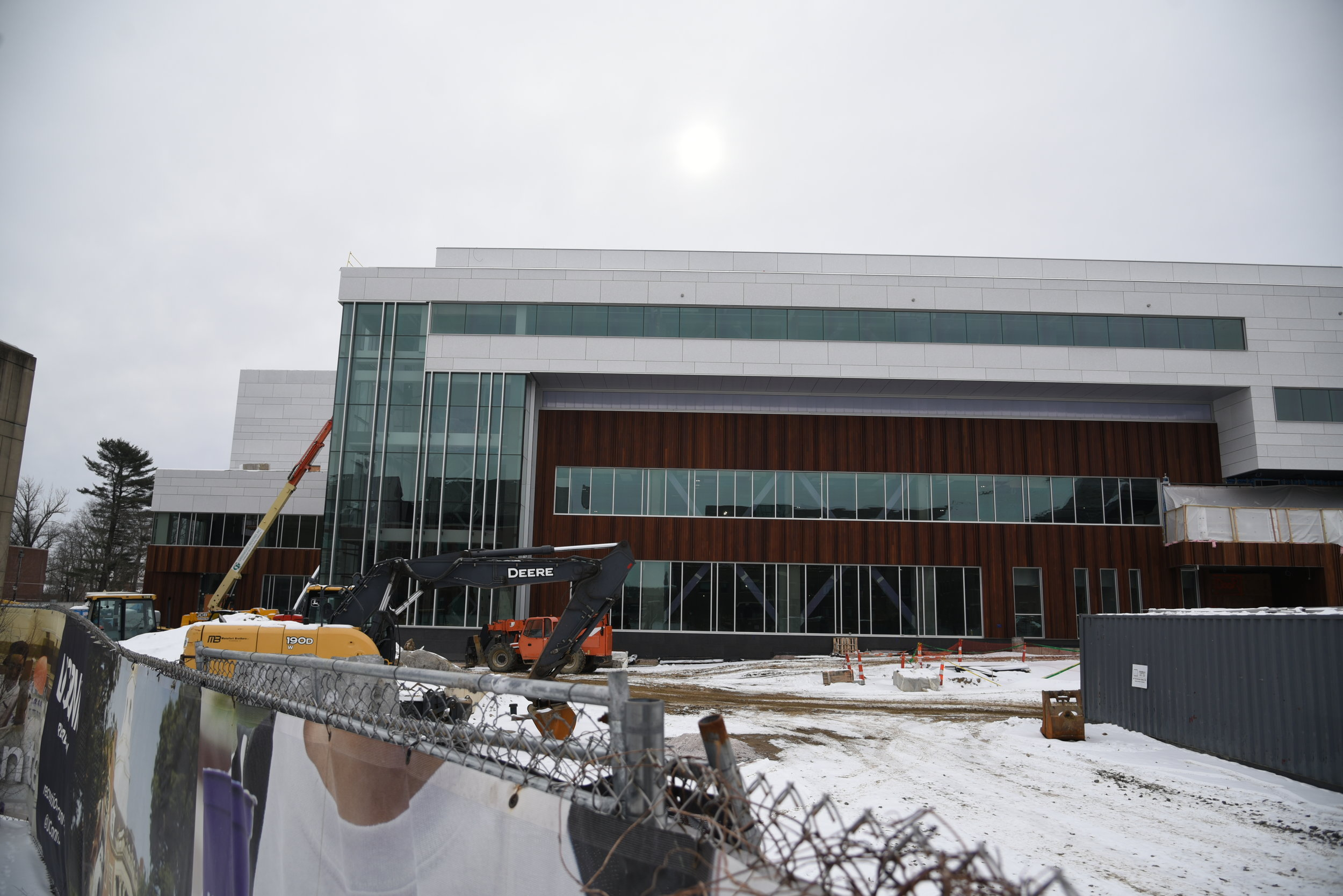 The new recreational center is under construction and is said to finish for the Fall semester across the UConn Bookstore. (Photo by Charlotte Lao/The Daily Campus)