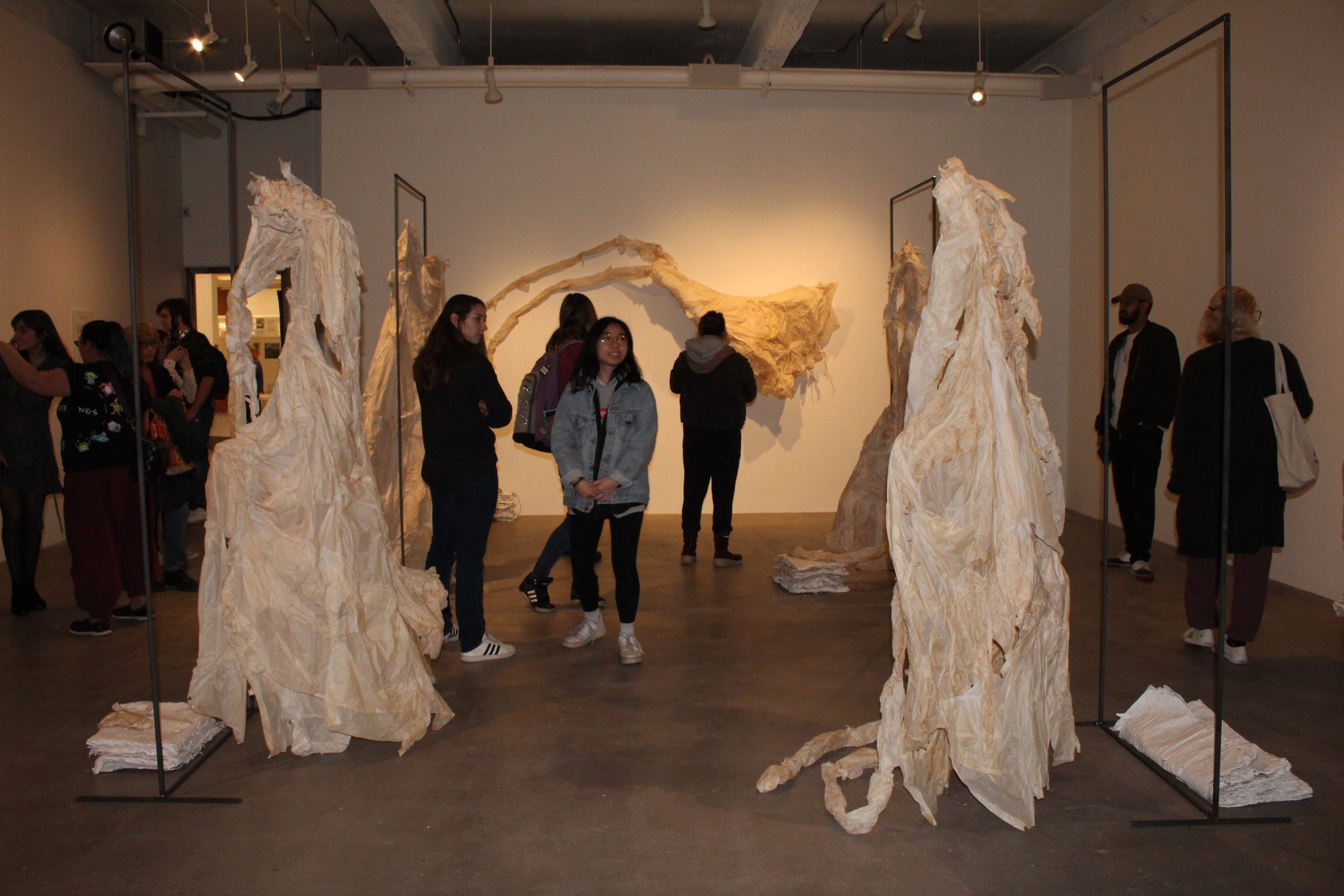 The VAIS Gallery hosts a solo exhibition by Isabella Saraceni. The work is a reflection on the erasure and representation of the female body throughout history. It will be shown until April 19, 2019. (Rachel Santostefano/The Daily Campus)