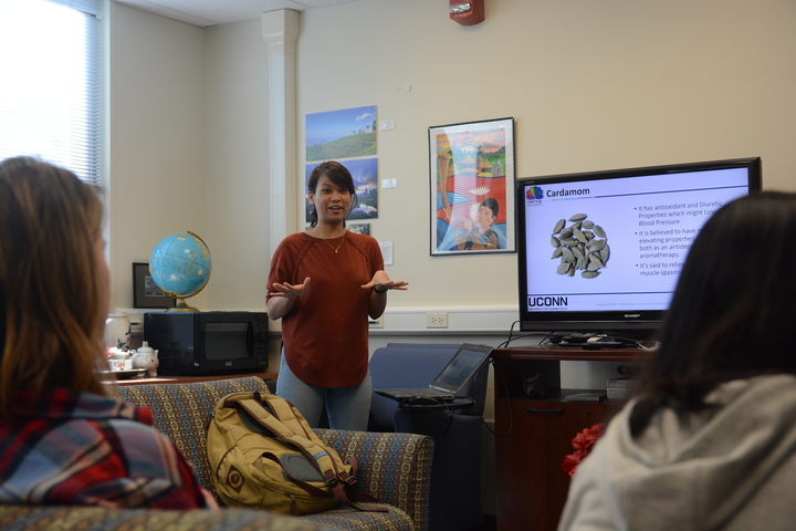 Students and faculty enjoyed Chai Tea, Southeast Asian foods from UConn Catering, and a presentation about Southeast Asian handicrafts. (Nicholas Hampton/The Daily Campus)