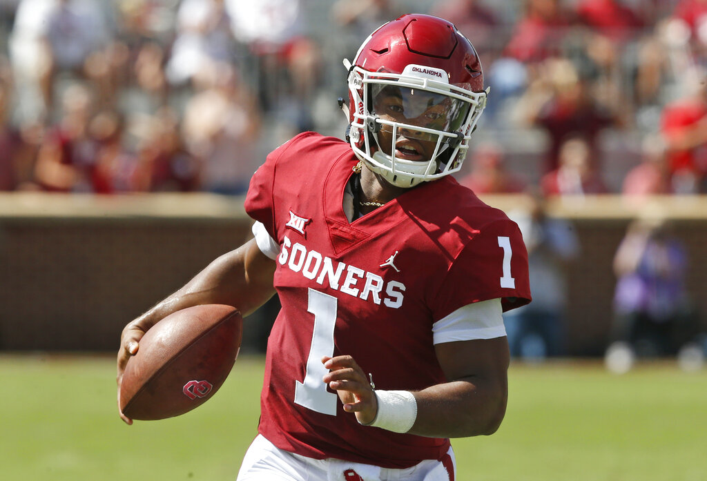 This June 21, 2018, photo provided by University of Oklahoma Athletics shows Kyler Murray. Murray is a possible pick in the 2019 NFL Draft. (Ty Russell/Oklahoma University Athletics via AP)