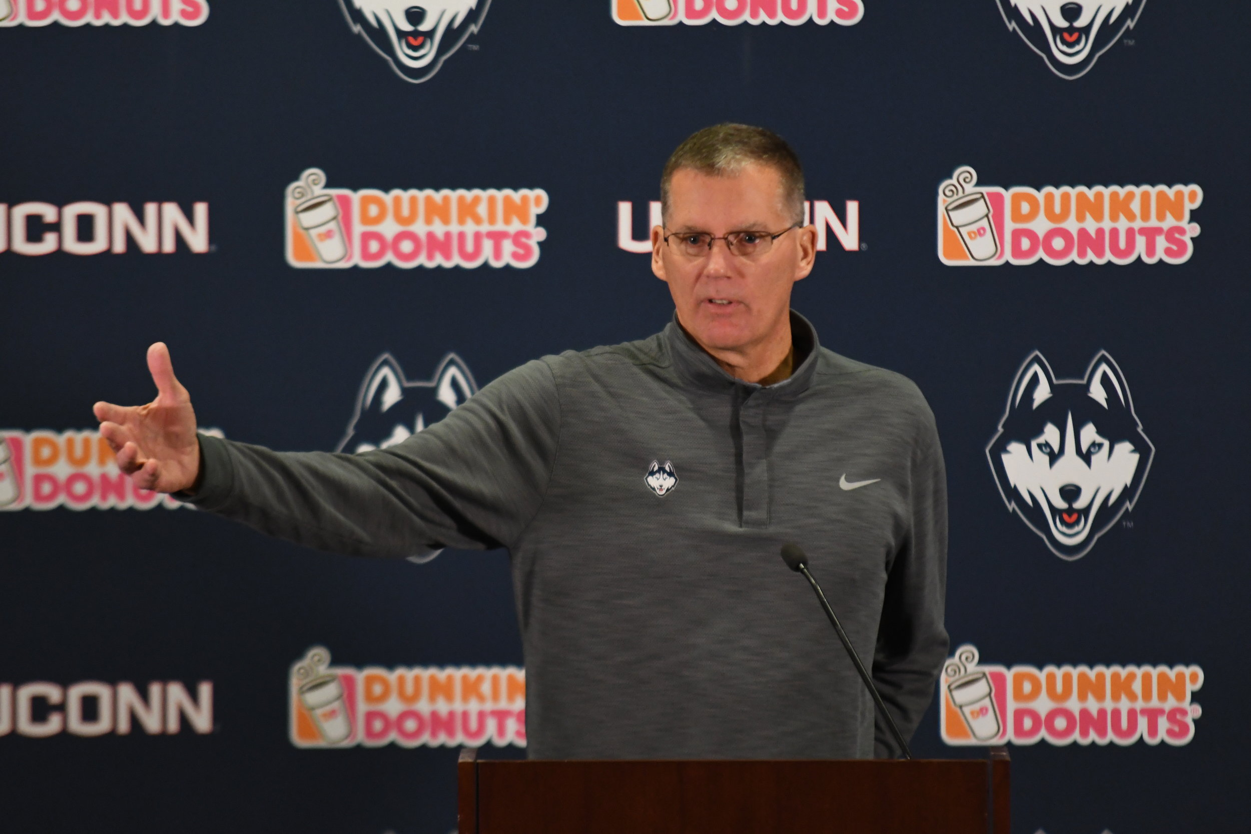 Coach Randy Edsall addresses his problems with the NCAA.11/13/18 Football Presser by Eric Wang. (Photo by Eric Wang/The Daily Campus)