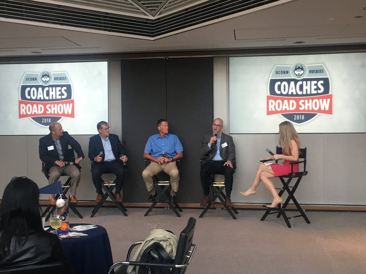 From last year's Road Show, from left to right: Baseball head coach Jim Penders, women's basektball head coach Geno Auriemma, football head coach Randy Edsall and men's basketball head coach Dan Hurley. (File photo/The Daily Campus)