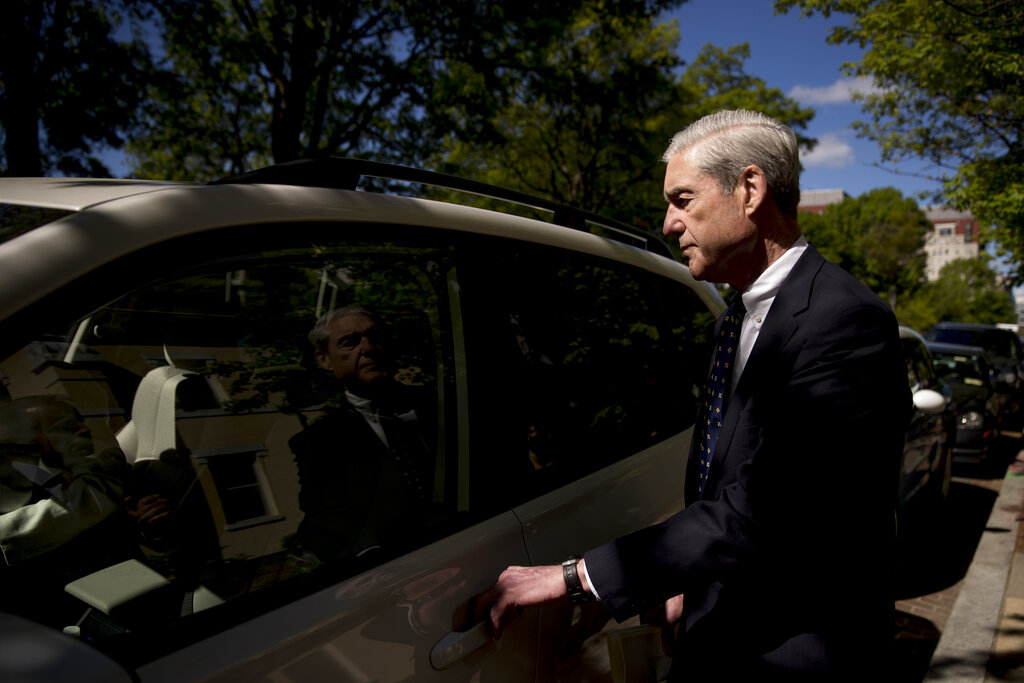 Special Counsel Robert Mueller departs Easter services at St. John's Episcopal Church, Sunday, April 21, 2019, in Washington. (AP Photo/Andrew Harnik)