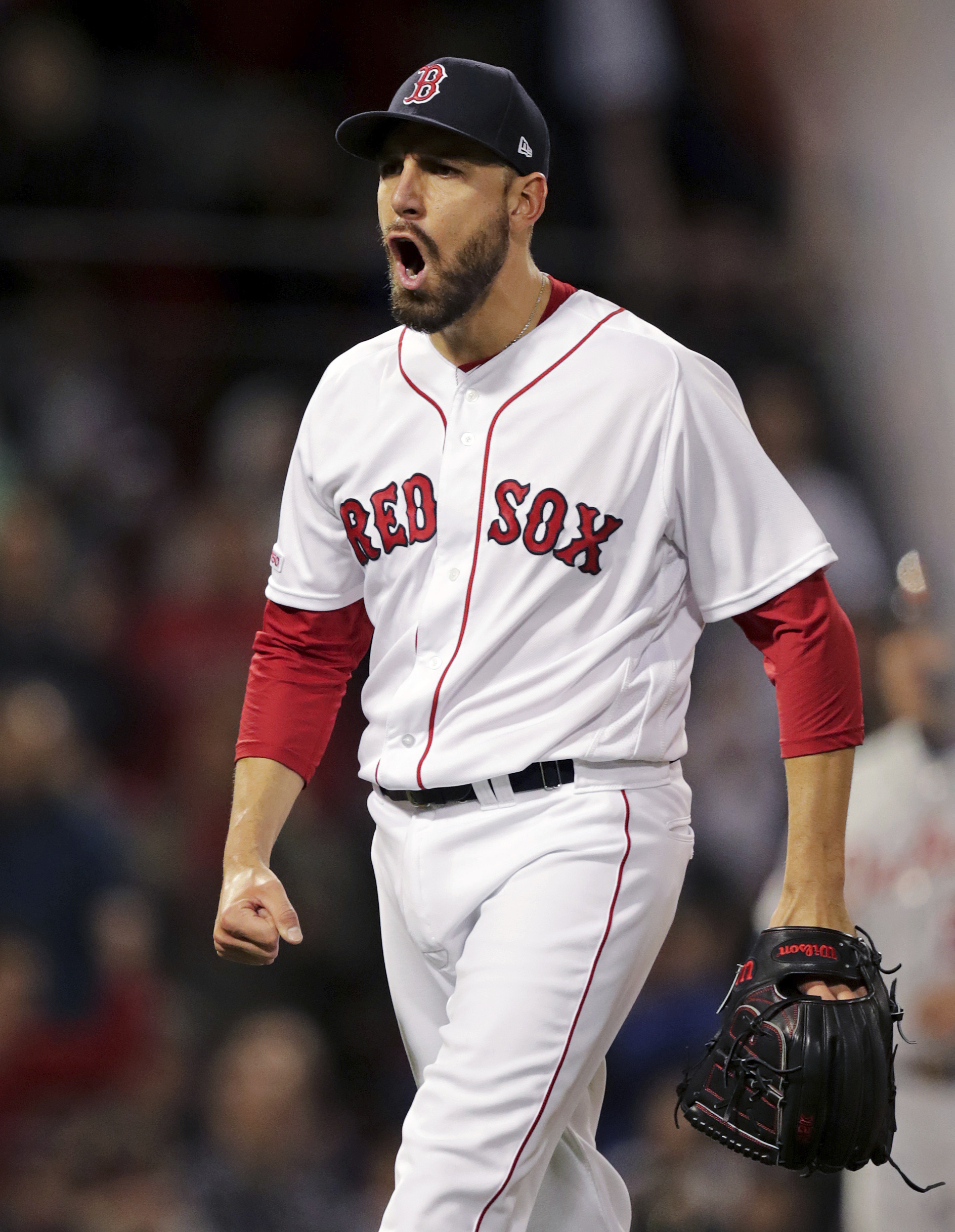 Boston Red Sox relief pitcher Matt Barnes yells after striking out Detroit Tigers' Ronny Rodriguez with bases loaded to end the top of the eighth inning of a baseball game at Fenway Park, Wednesday, April 24, 2019, in Boston. (AP Photo/Charles Krupa)