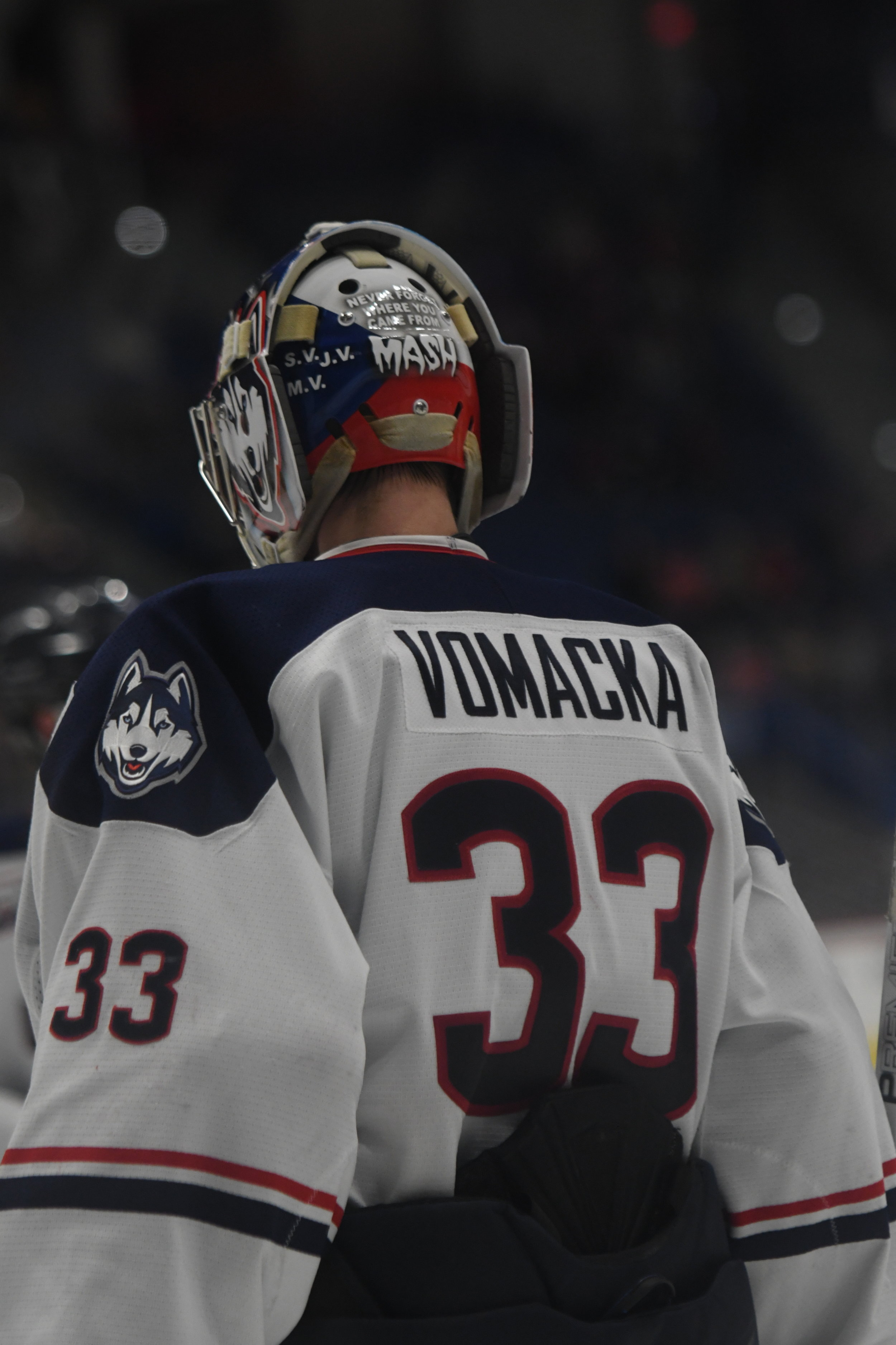 Tomas Vomacka impressed for the Huskies during his time between the pipes. Photo by Eric Wang/The Daily Campus