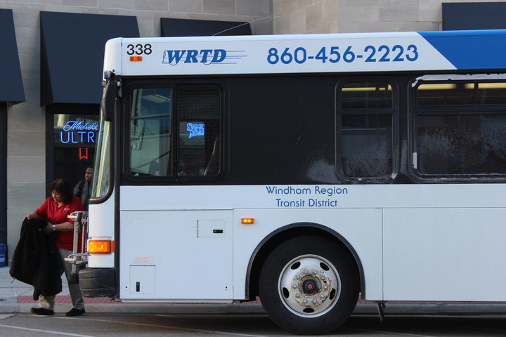 The WRTD bus stops at the Mansfield Transportation Center. The bus stops here each hour. (Elizabeth Sankey/The Daily Campus)