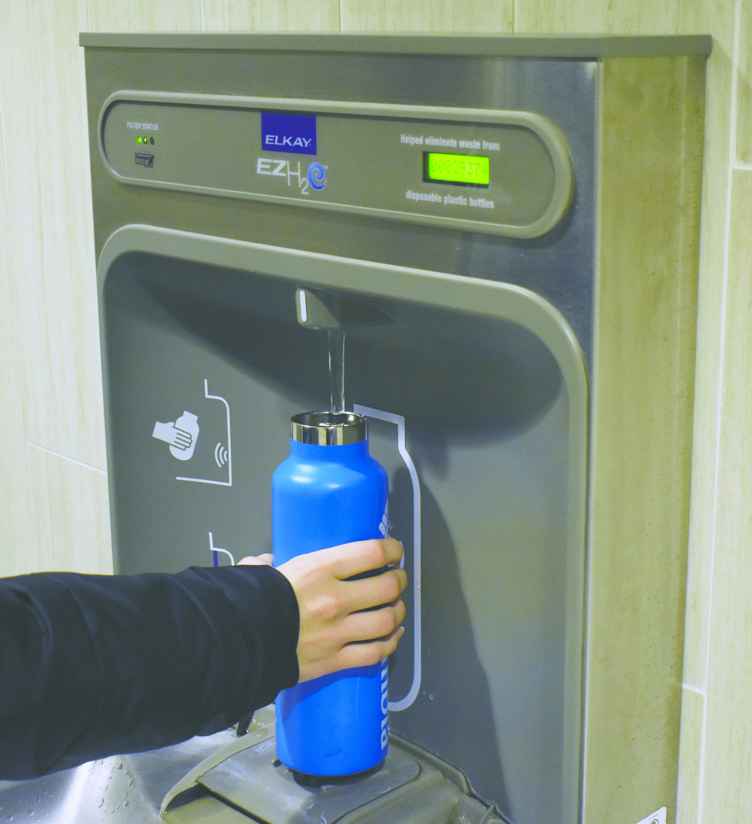 Eliminating water coolers and replacing them with water refilling stations will reduce environmental impacts on campus, according to a new university guideline.  Photo by Brandon Barzola, Staff Photographer/The University of Connecticut