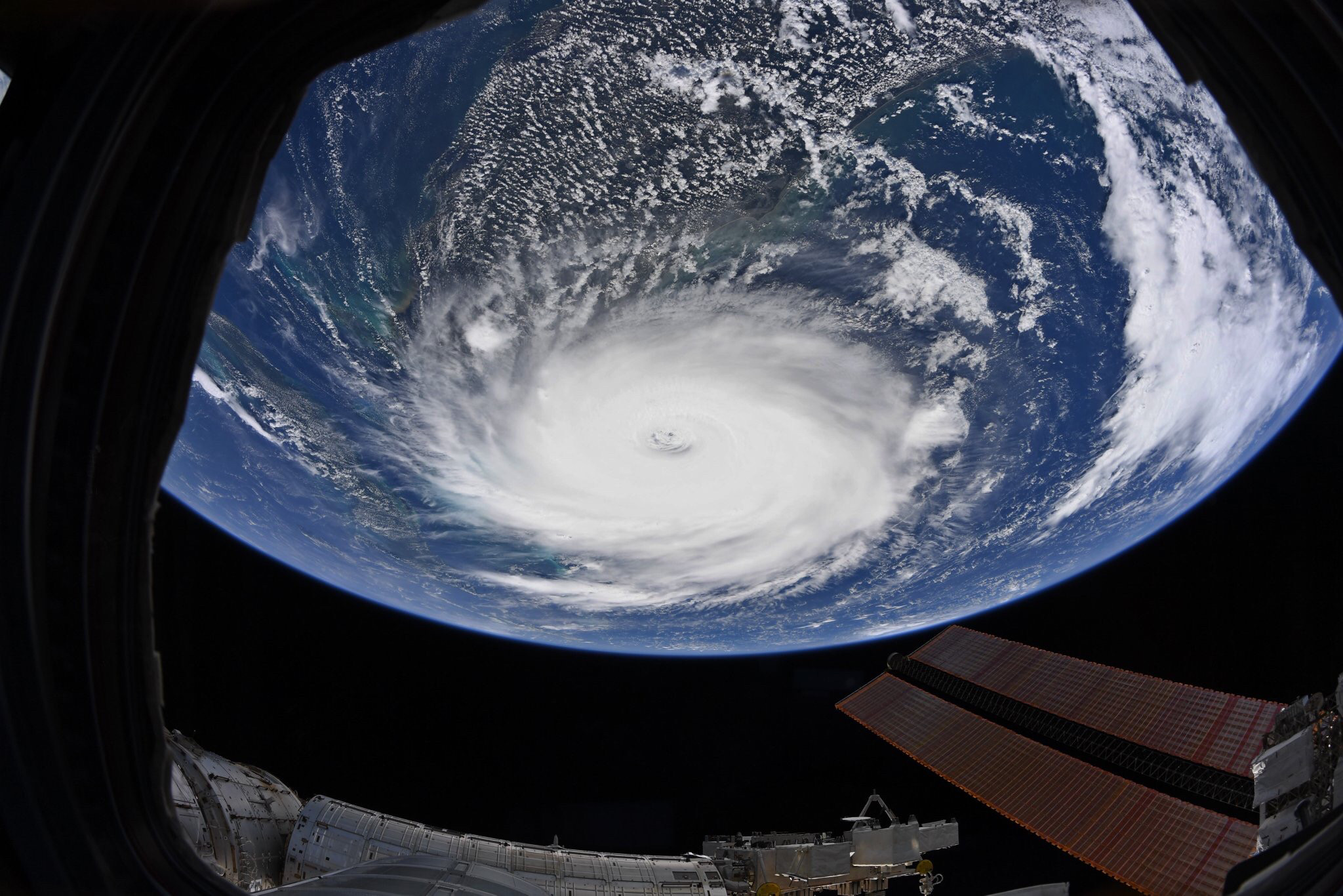 A view of hurricane Dorian from the International Space Station.  Photo by Cayobo from Flickr Creative Commons