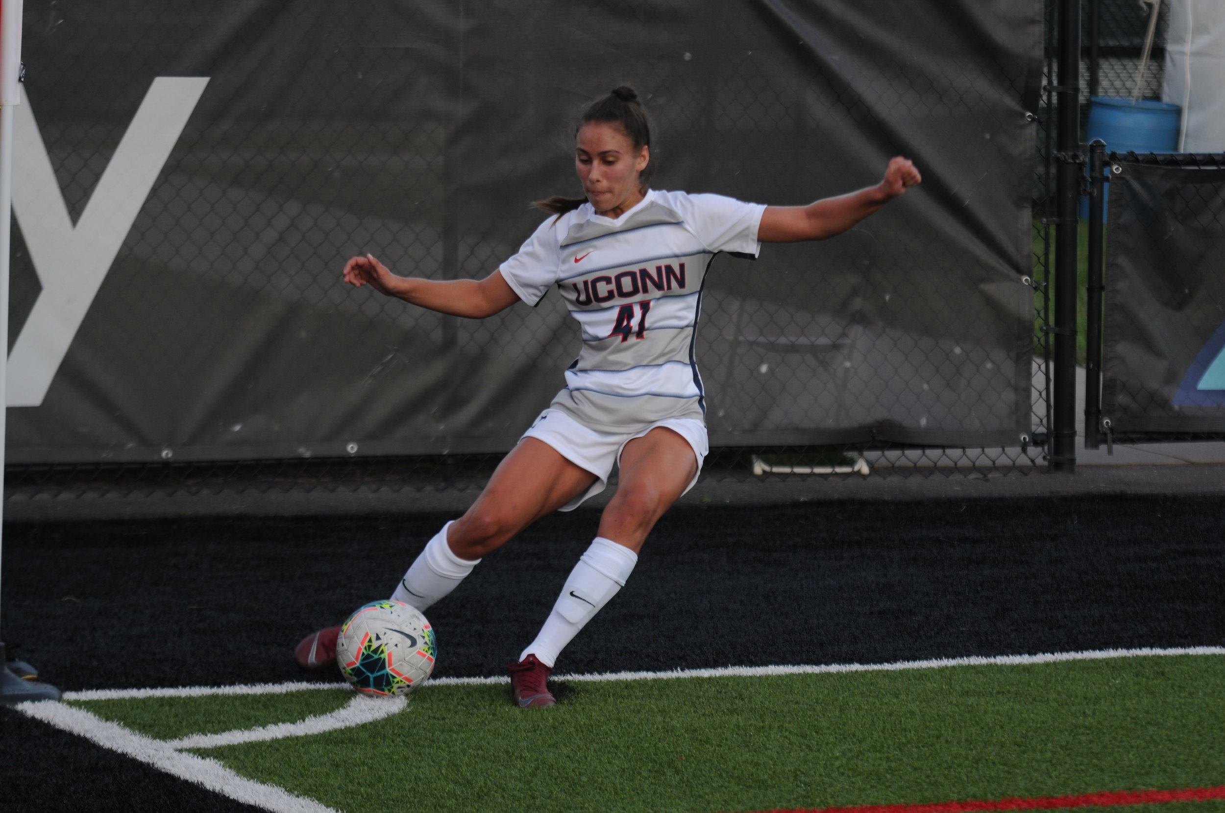 The Sept. 1 Women's Soccer vs Colgate game. For Leone, a senior who originally walked onto the team, it was her first career goal.  Photo by Matthew Pickett / The Daily Campus