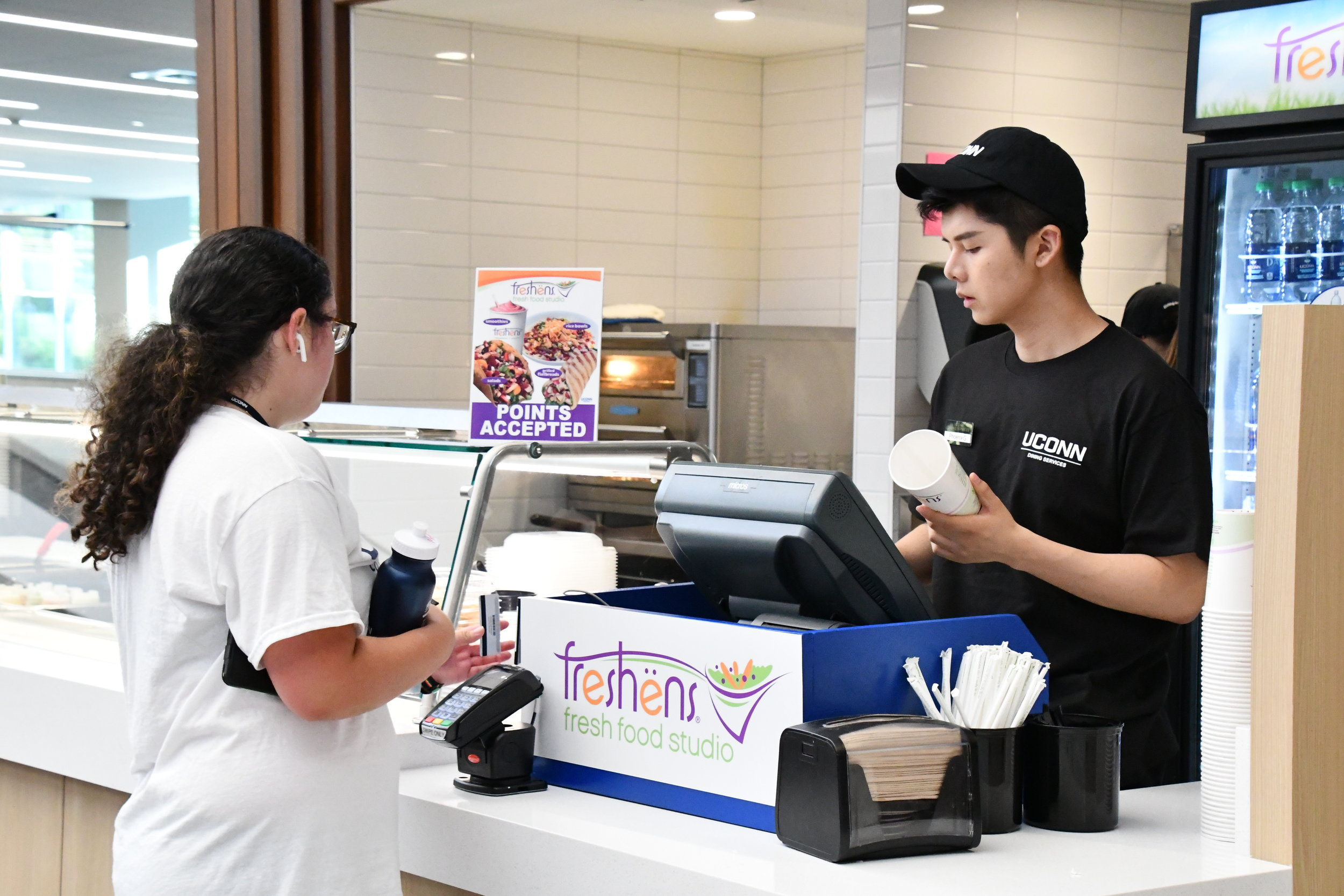 Freshens has moved to the UConn Recreation Center with a new menu that includes grain bowls and toasted wraps among the well-known shakes the chain usually serves.  Photo by Julie Spillane for The Daily Campus.