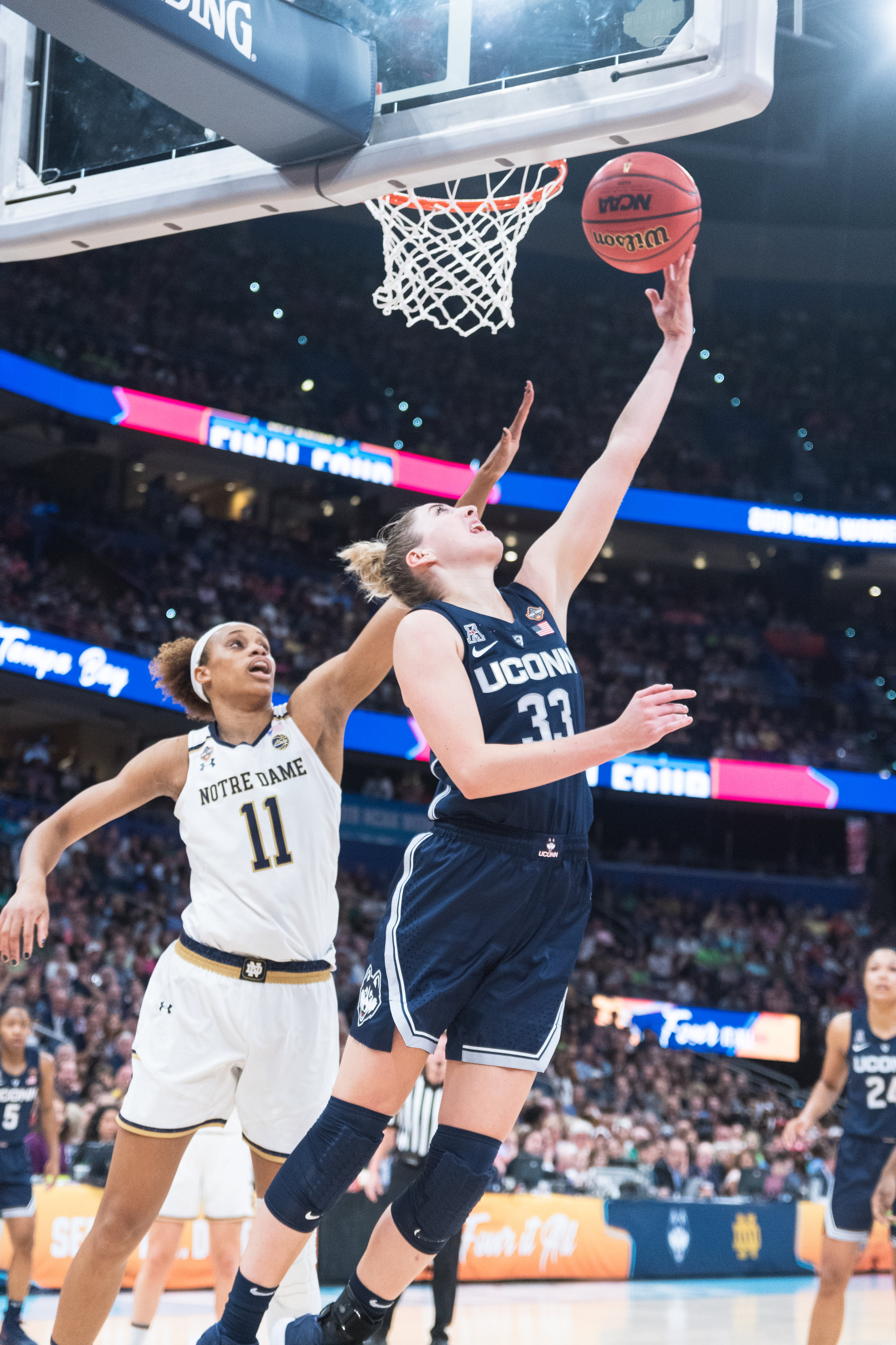 Katie Lou Samuelson is finishing her rookie season with the Chicago Sky; here she is playing for UConn during the Final Four in 2018.  Photos by Charlotte Lao / Photo Editor, The Daily Campus.