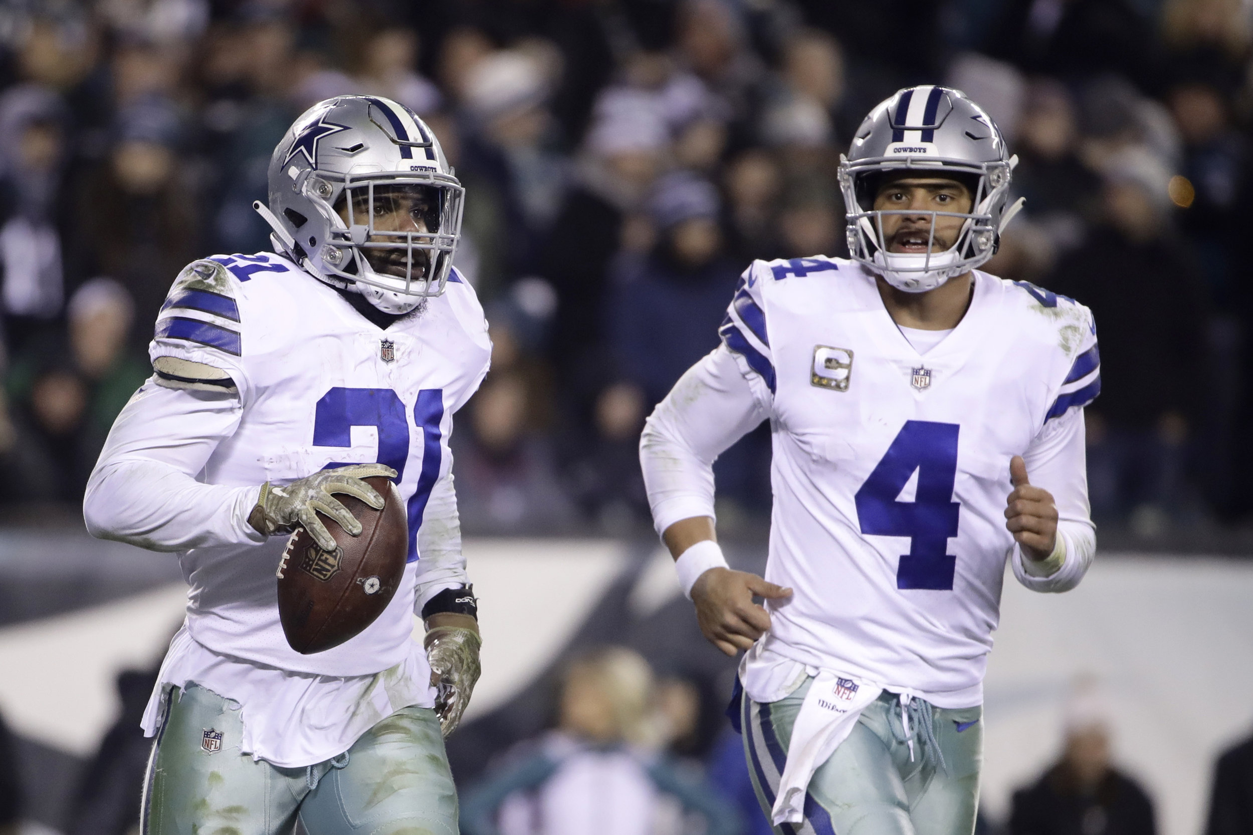 With Ezekiel Elliott signing a record-setting contract, the Dallas Cowboys have a much improved chance of making a push in the playoffs with their current roster.  Photo from The Associated Press