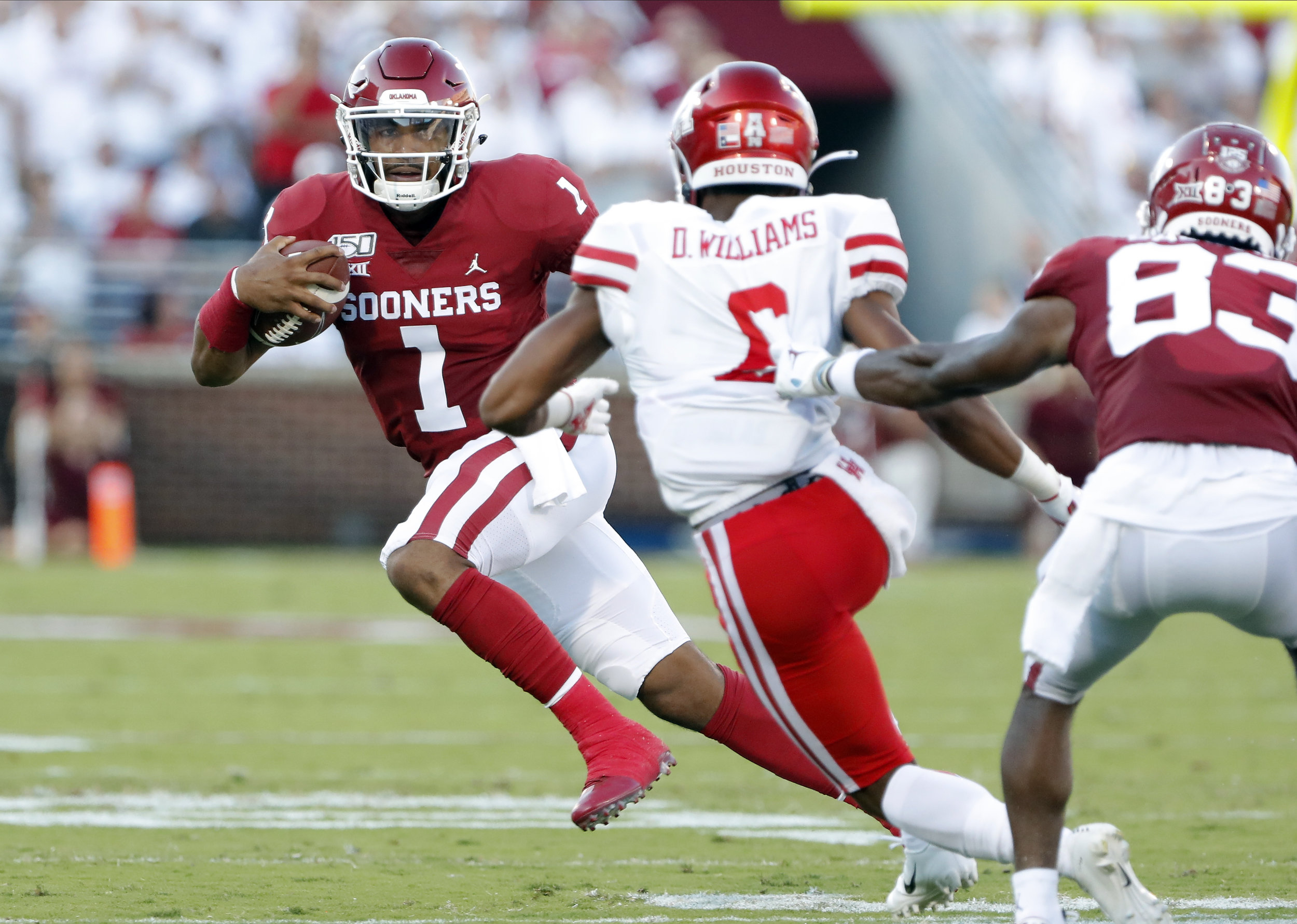 Jalen Hurts skyrocketed to first in the Heisman race after his huge game against Houston to begin the season.  Photo from The Daily Campus