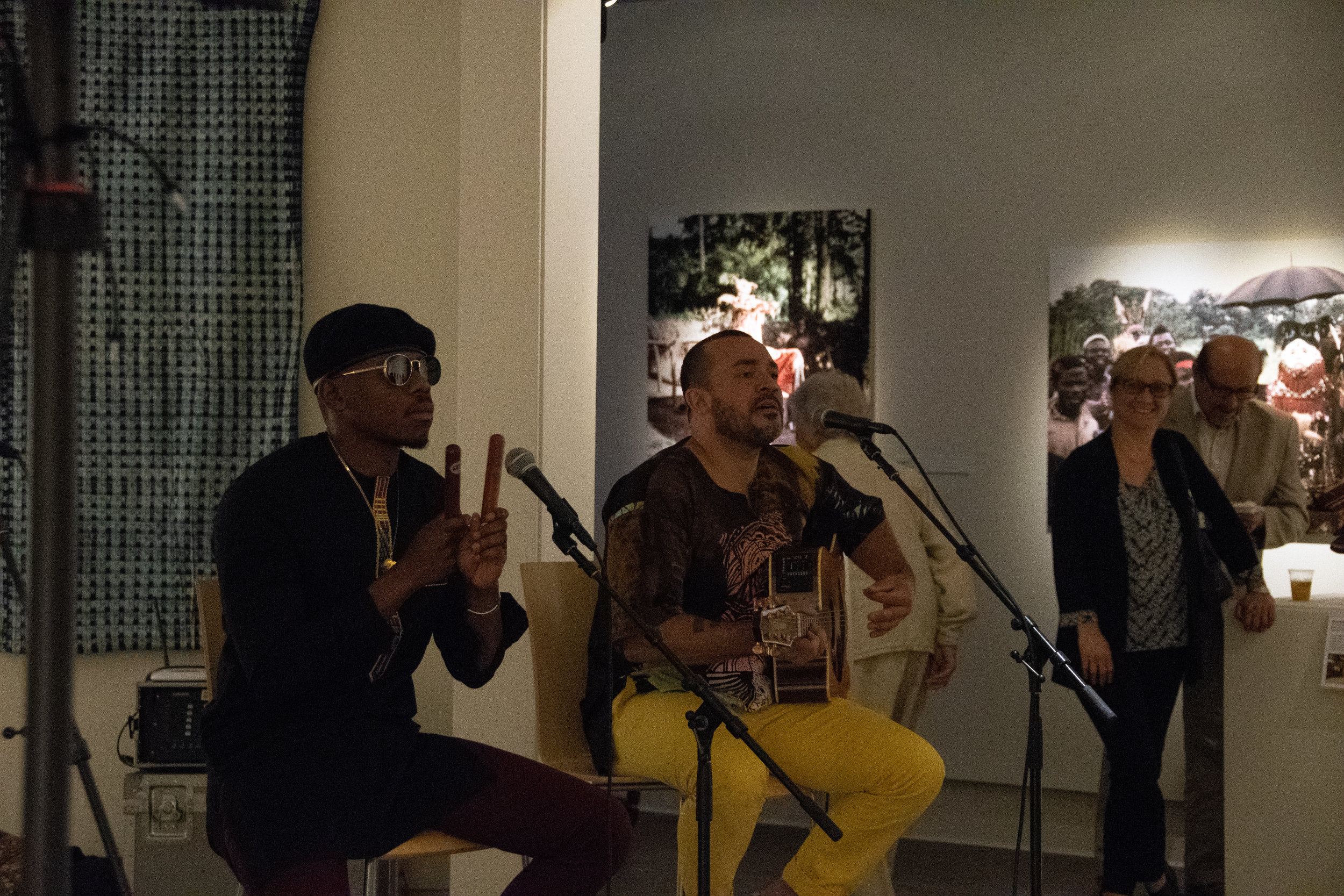 """A group of performers from the Broadway musical """" Fela! """" played music for the art museum's reception."""
