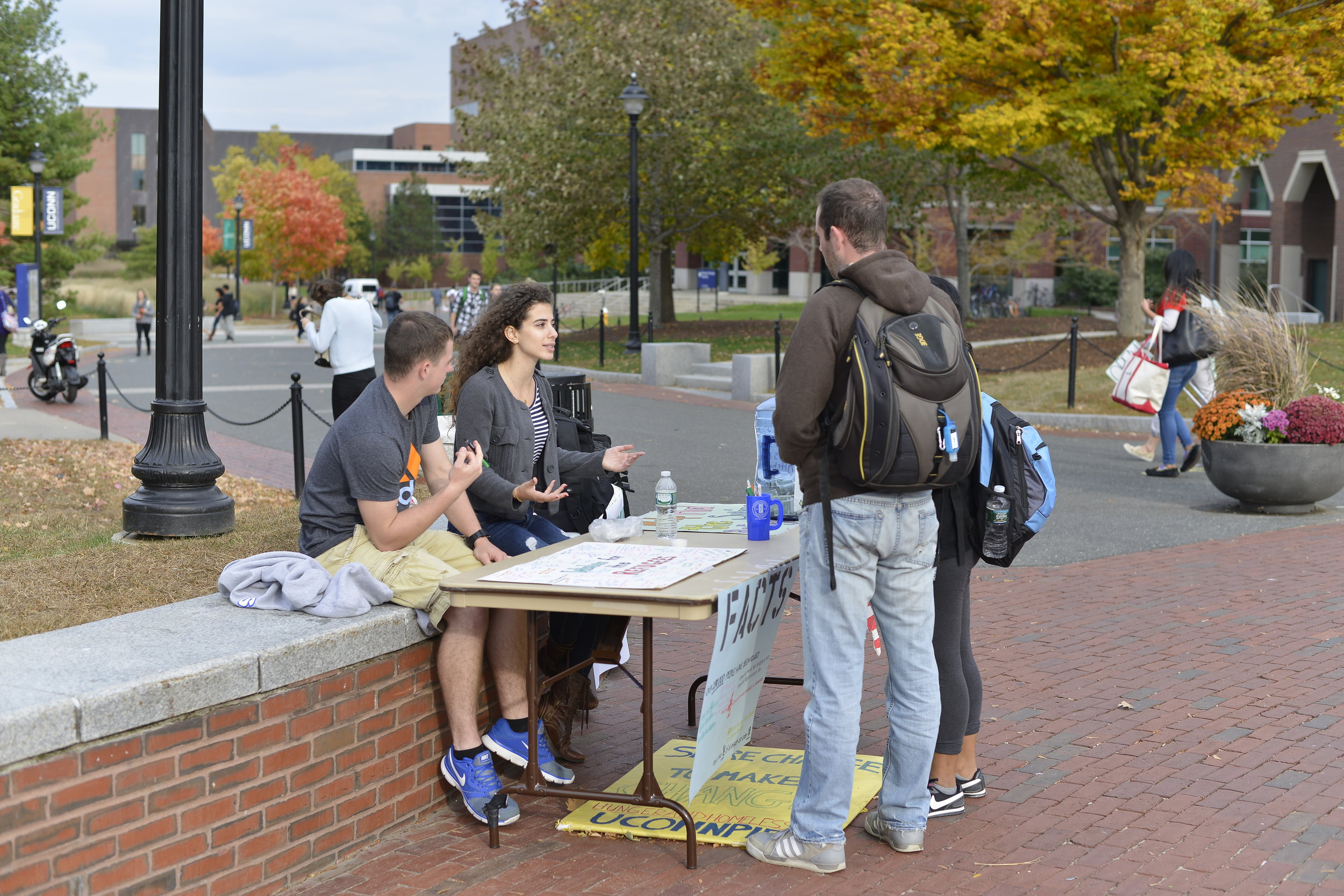Members of UConnPIRG tabling on Fairfield Way. The non-partisan student advocacy group is planning six different campaigns for the semester, such as a movement for transparency of college textbook costs. (File Photo/The Daily Campus)