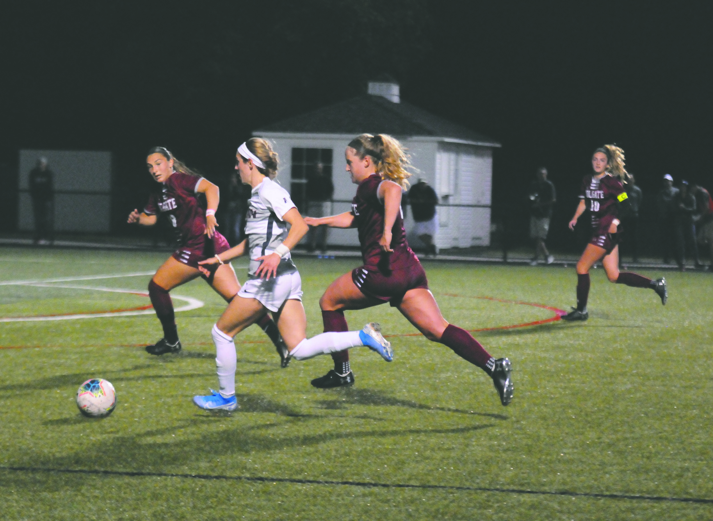 The women's soccer team fell to Brown 2-0 in last night's game, struggling all game to get shots on net.  Photo by Matthew Pickett, Staff Photographer/Daily Campus
