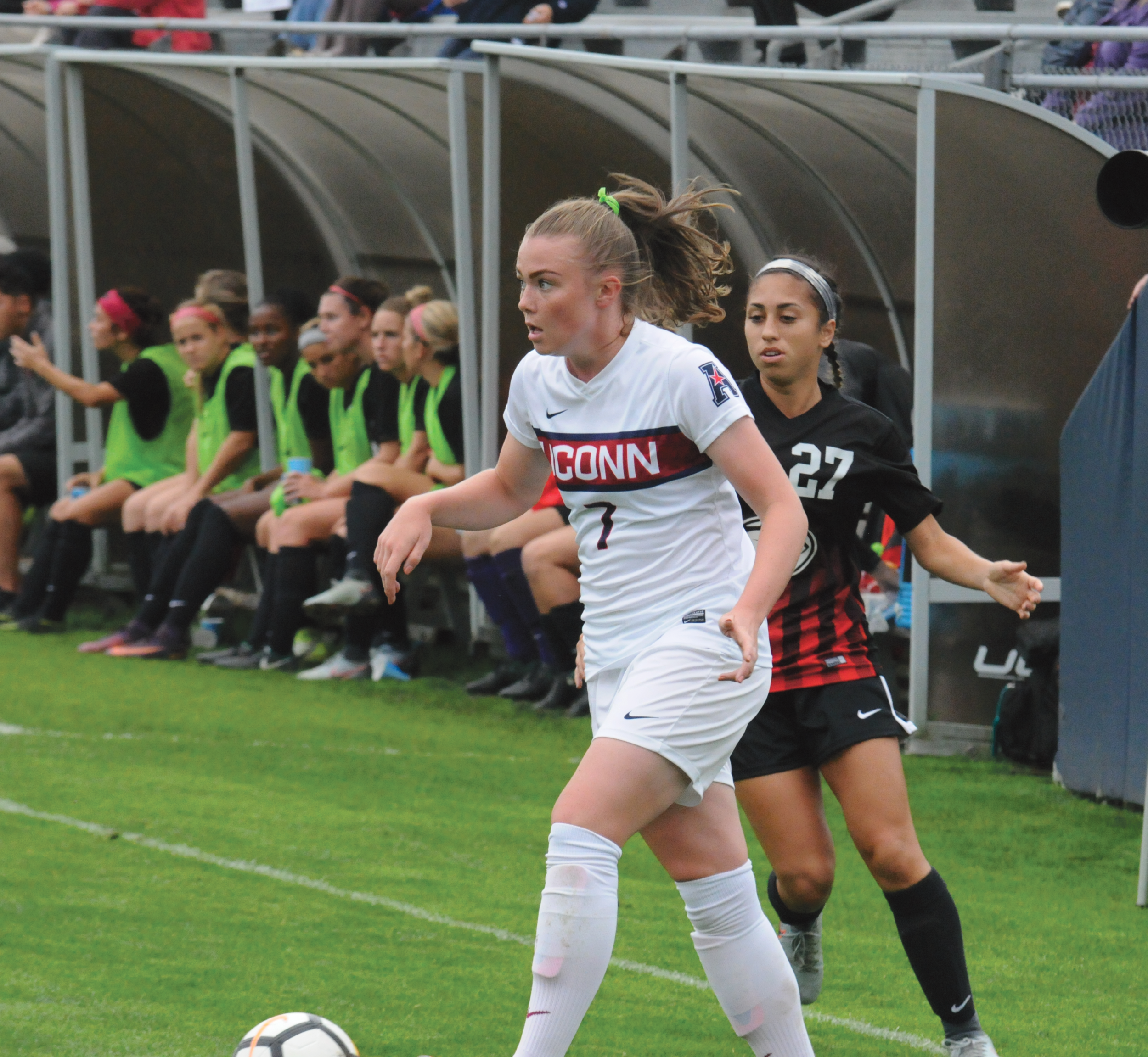 Kess Elmore set up the best opportunity of the day when she sent a cross to Regan Schiappa but it did not result in a goal.  Photo by Matthew Pickett, Staff Photographer/Daily Campus