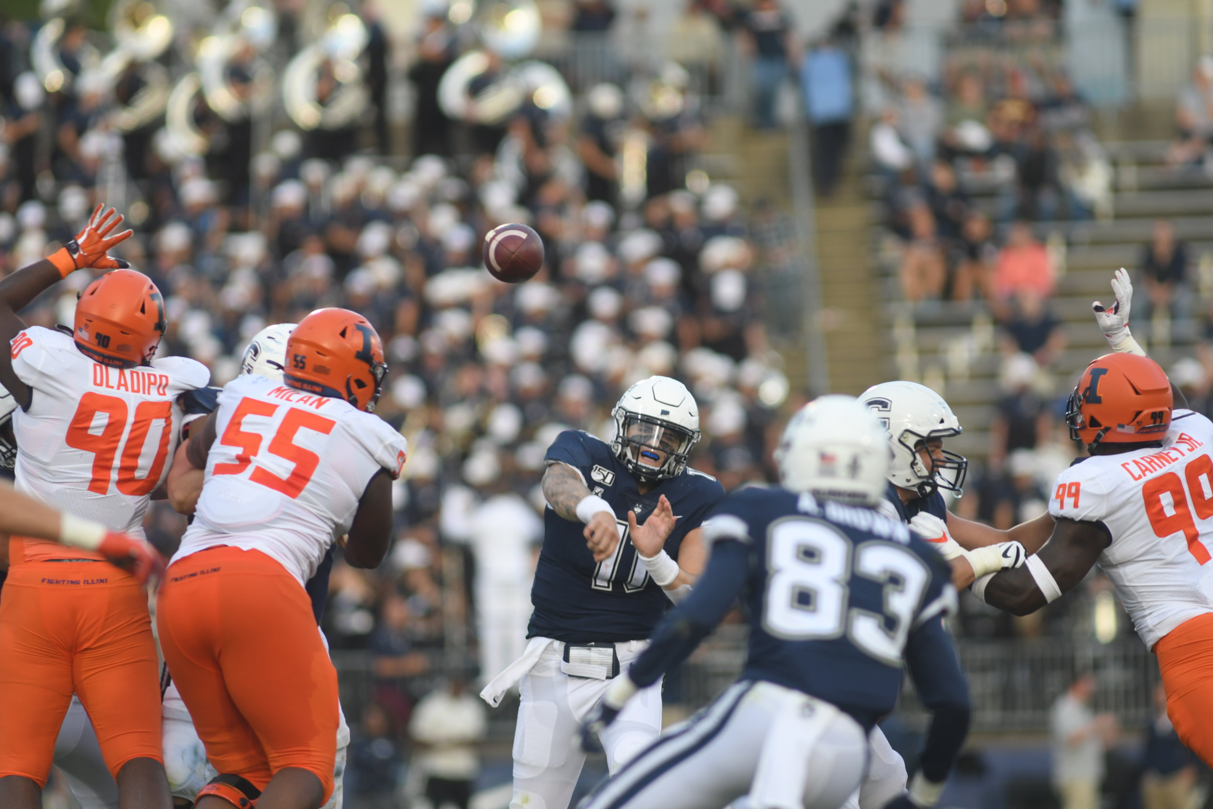 UConn lost 23-31 to the University of Illinois on Saturday, September 7.  Photo by Eric Wang, Senior Staff Photographer / The Daily Campus