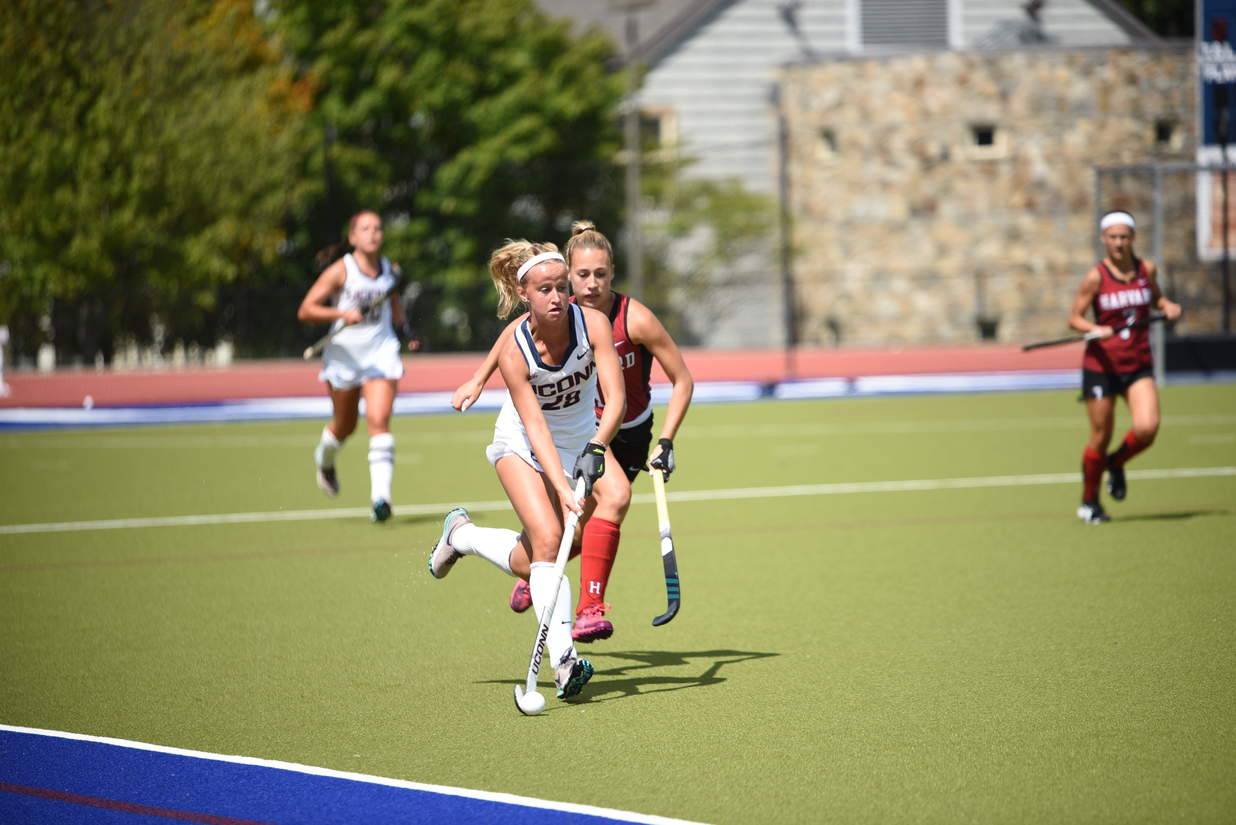 The UConn Women's Field Hockey team won 4-0 during their home opener on Friday night.  Photo by Charlotte Lao, Staff Photographer / The Daily Campus.