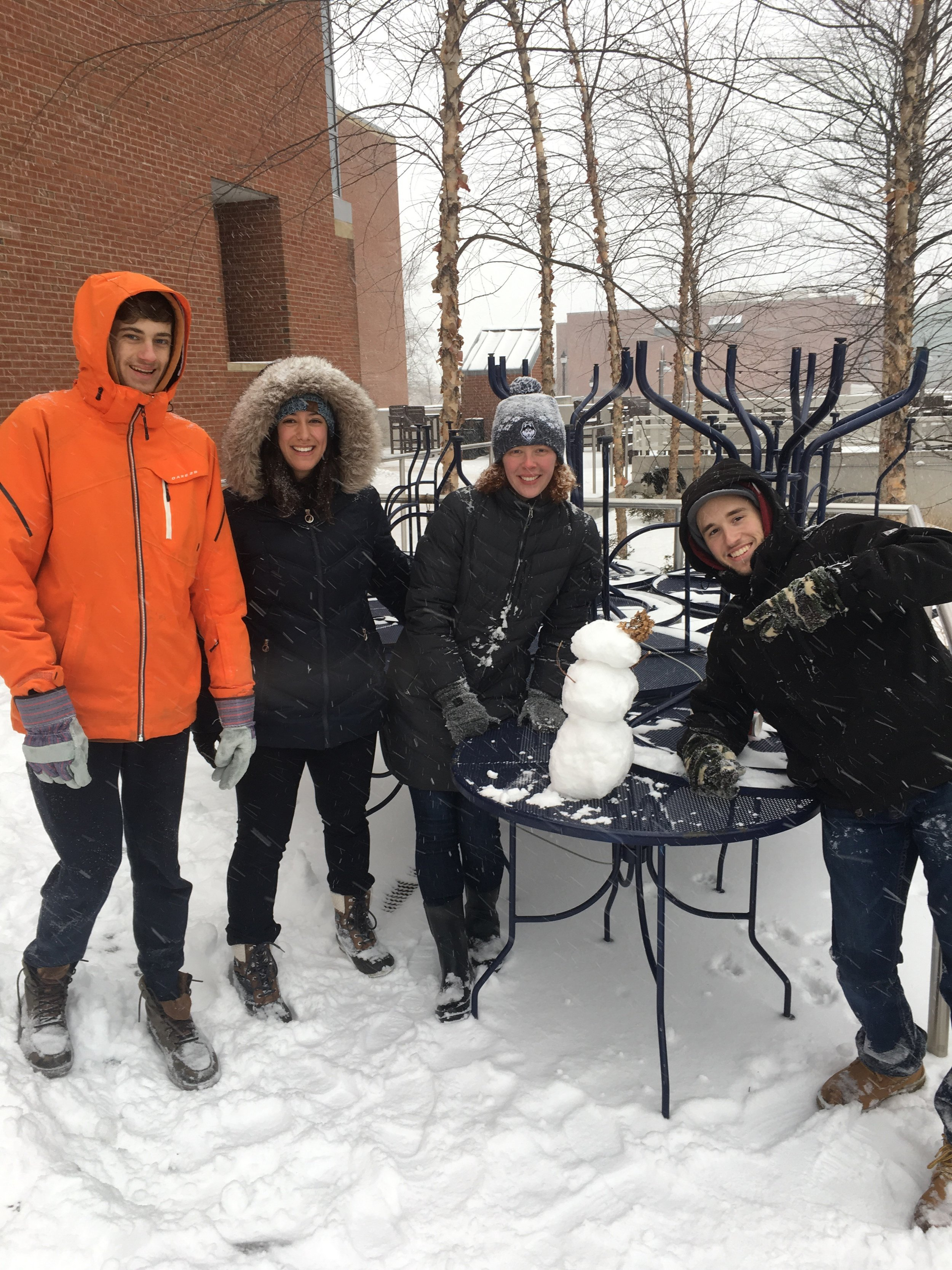 The UConn Snowman Appreciation Club recreates the childhood joy of building snowmen.    Photos provided by Will Broding of USAC.