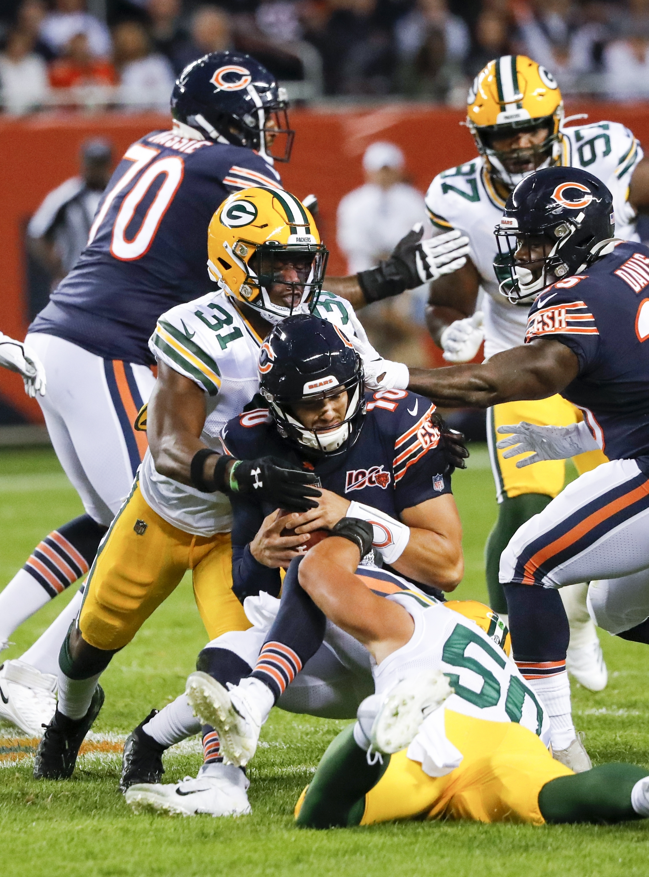The Bears did not look like the team many expected to be in the opening loss to the Green Bay Packers.  Photo by The Associated Press.