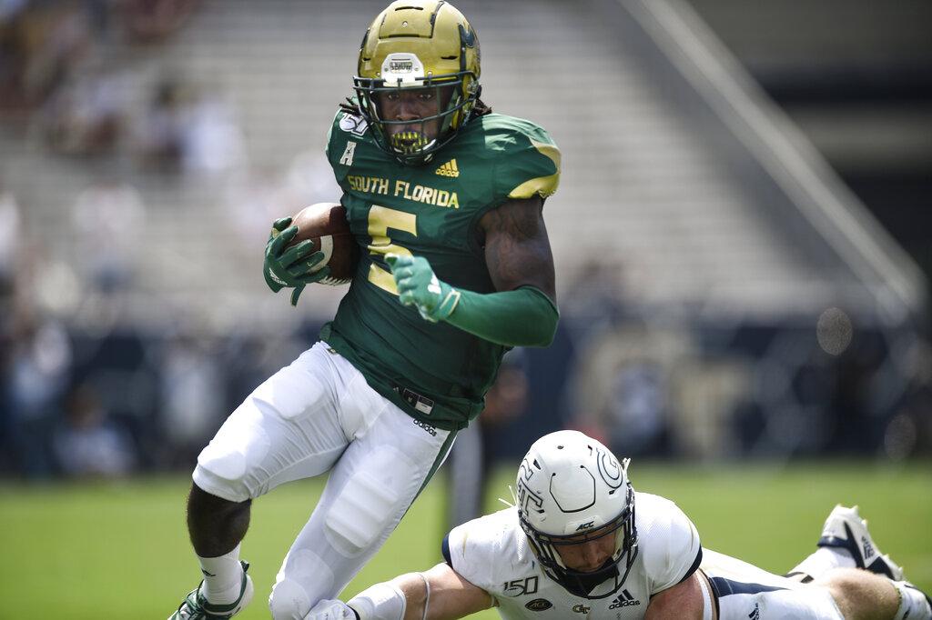 South Florida wide receiver Randall St. Felix runs against Georgia Tech during the first half of an NCAA college football game.   Photo by Jon Barash/Associated Press