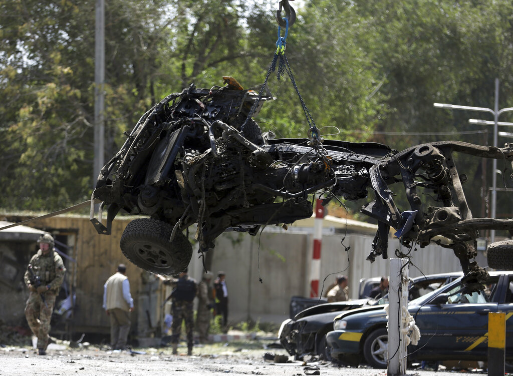 We don't negotiate with terrorists. - Resolute Support (RS) forces remove a destroyed vehicle after a car bomb explosion in Kabul, Afghanistan, Thursday, Sept. 5, 2019. The Afghan government says at least 10 civilians are dead and another 42 wounded after a Taliban suicide car bombing rocked the Afghan capital near a neighborhood housing the U.S. Embassy and the NATO Resolute Support mission.Photo by Rahmut Gul/Associated Press
