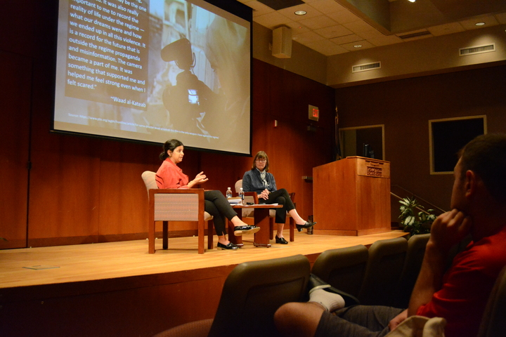 """Sana Mustafa, a Syrian refugee, takes questions from the audience following the screening of the documentary """"For Sama"""" to discuss her personal experiences with the Syrian """"civil war"""" in the Dodd Research Center Tuesday.  Photo by Spencer Bennett / The Daily Campus"""