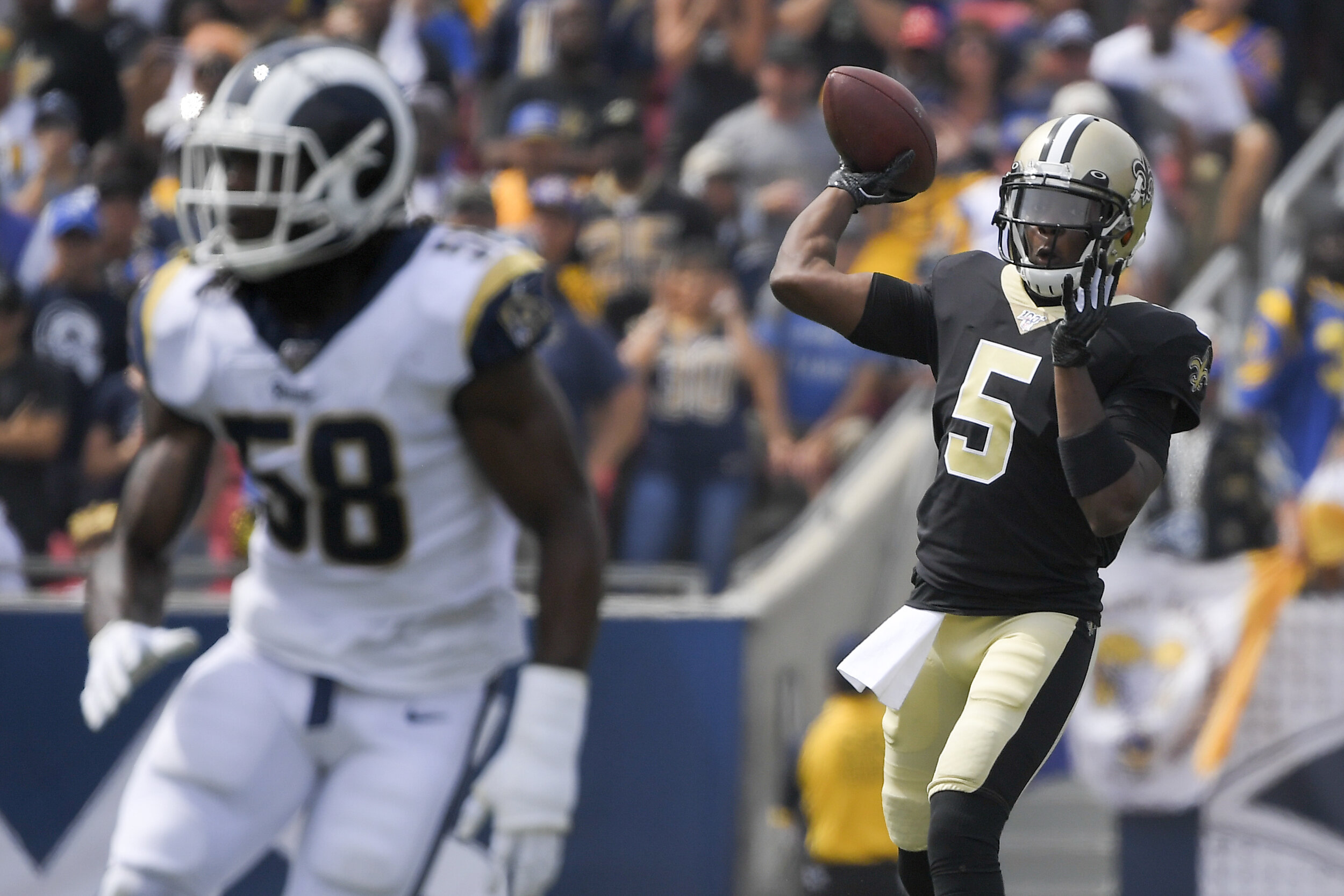 Teddy Bridgewater entered the game after Brees went down, ending the game with 165 yards thrown.  Photo by The Associated Press.
