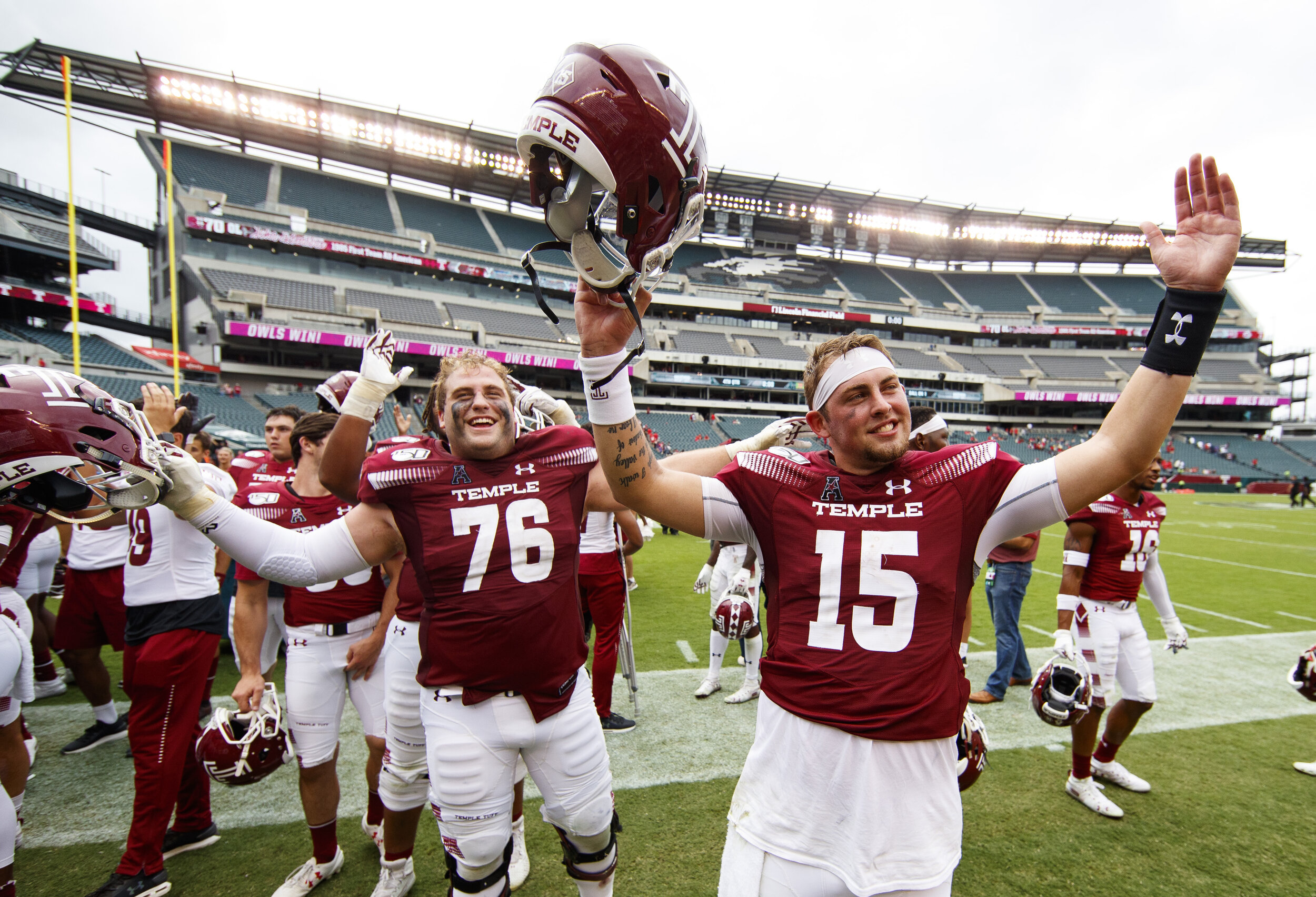 The Temple Owls pulled off a big upset victory over No. 21 Maryland thanks in no small part to their strong effort on the defensive end.  Photo from The Associated Press.