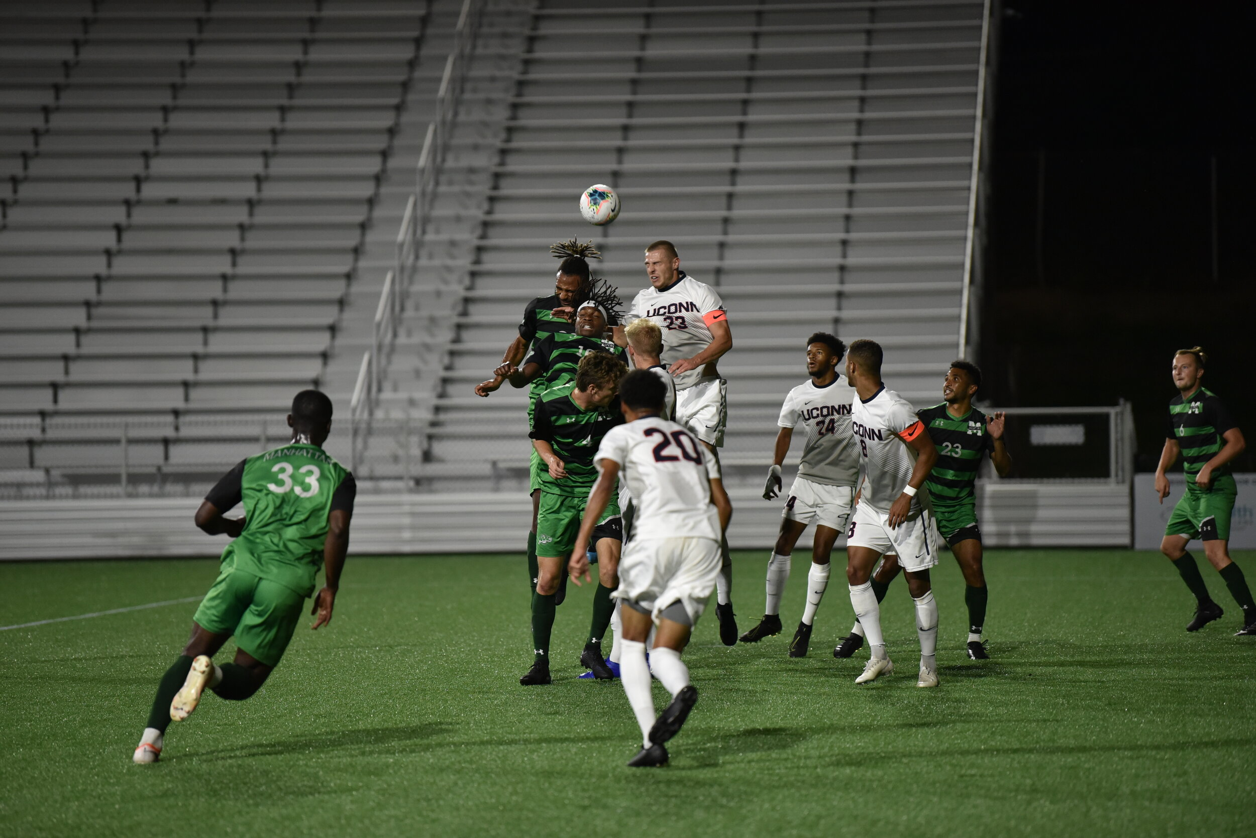 UConn men's soccer defeats Manhattan College at Dillon Stadium in Hartford on Sept. 17, 2019.  Photo by Eric Wang/The Daily Campus