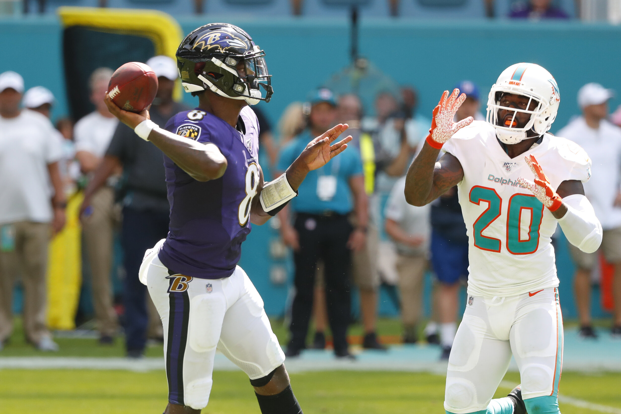 Second-year QB Lamar Jackson torched the Miami Dolphins defense, totaling 324 yards and 5 touchdowns.  Photo from The Associated Press.