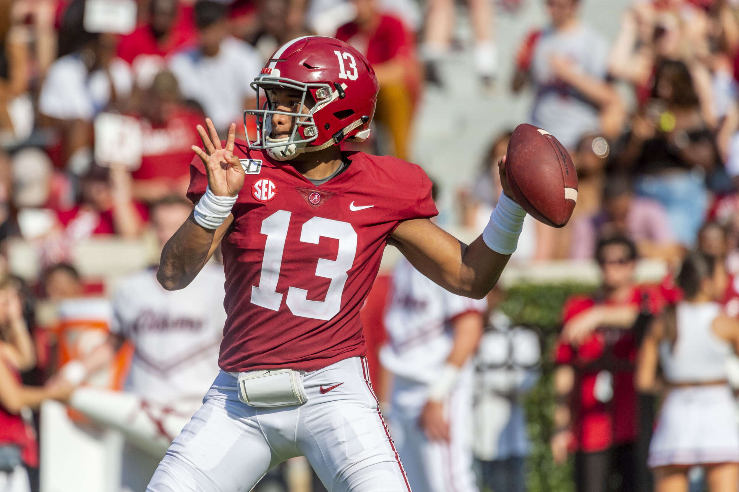 Alabama QB Tua Tagovailoa is leading the Heisman Trophy race after starting the season off 3-0 with very impressive numbers.  Photo from The Associated Press.