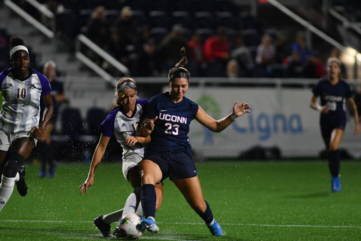 UConn is 2-2 at home in AAC openers and 1-2 on the road, with the only win being the overtime thriller at ECU, which featured a game-winning goal by Samantha McGuire.   Photo by Kevin Lindstrom / The Daily Campus