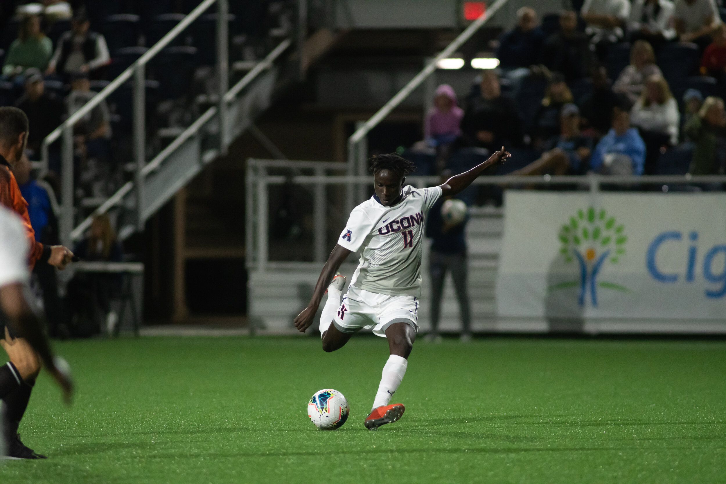 UConn Men's Soccer suffers a hard fought 2-3 defeat to Columbia on Friday. This was the first match that the Huskies played at Dillon Stadium, and senior Jordan Hall (No. 9) scored his eighth goal of the season.  Photo by Kevin Lindstrom/The Daily Campus