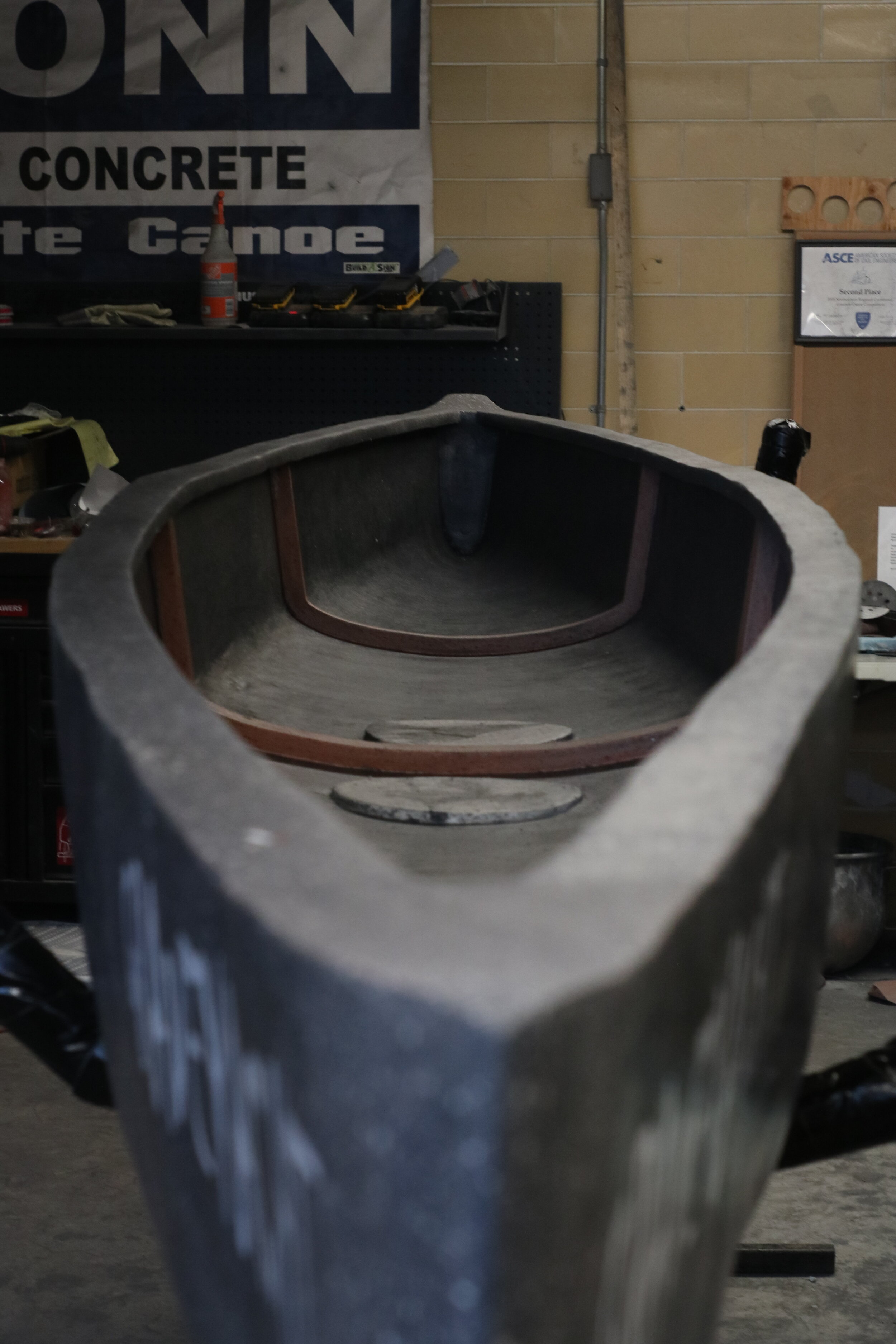 The UConn Concrete Canoe Association works to create a mixture that can be used to build the perfect canoe.  Photos courtesy of the author.