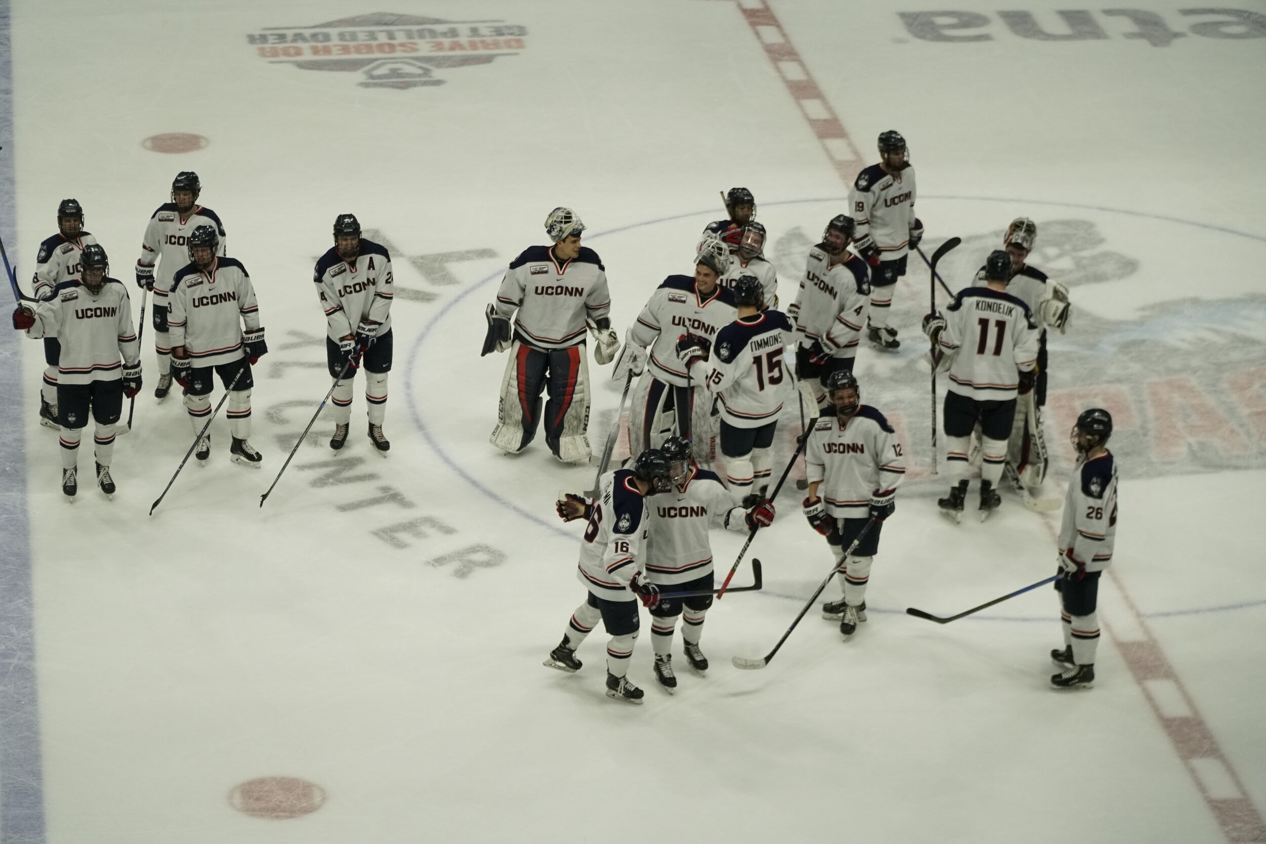 The Huskies won 4-3 against the UMass Minutemen on Friday. They also celebrated Senior Night for their three seniors: Miles Gendron (10), Karl El-Mir (16) and Max Kalter (18) as their last season game.  Photo by Eric Wang/The Daily Campus.
