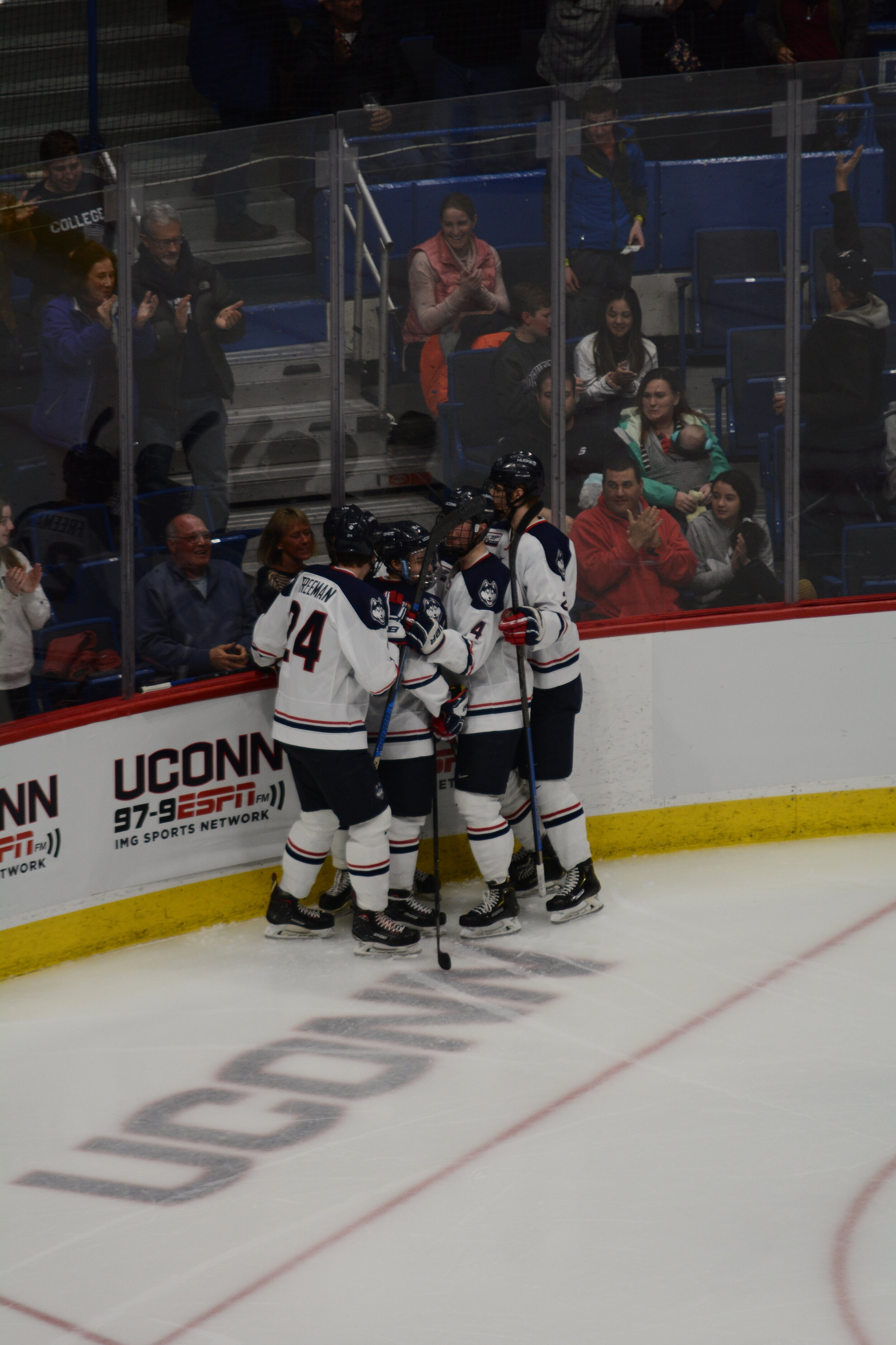 The Huskies won 4-3 against the UMass Minutemen on Friday. UConn got off just 20 shots compared to Sacred Heart's 48 but were able to walk away with the tie in a solid performance headlined by Vomacka's career night.  Photo by Eric Wang/The Daily Campus.