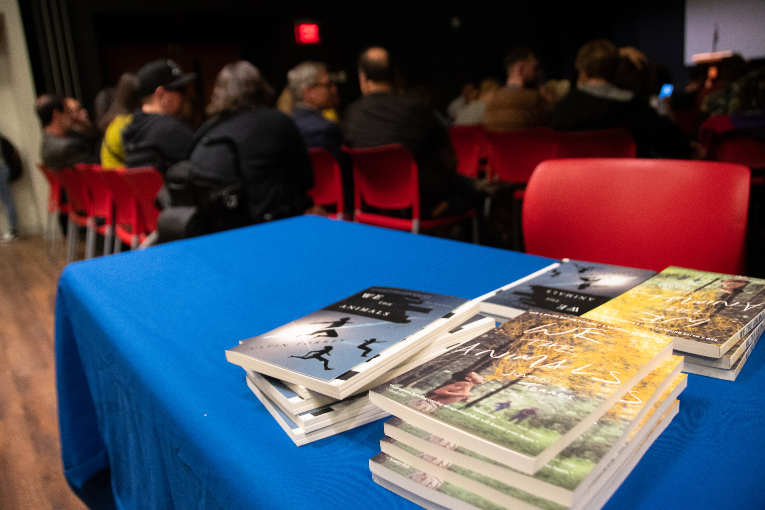 """A selection of Torres' novel, """"We the Animals"""" available at the Barns & Noble reading and Q&A.  Photo by Avery Bikerman / The Daily Campus"""