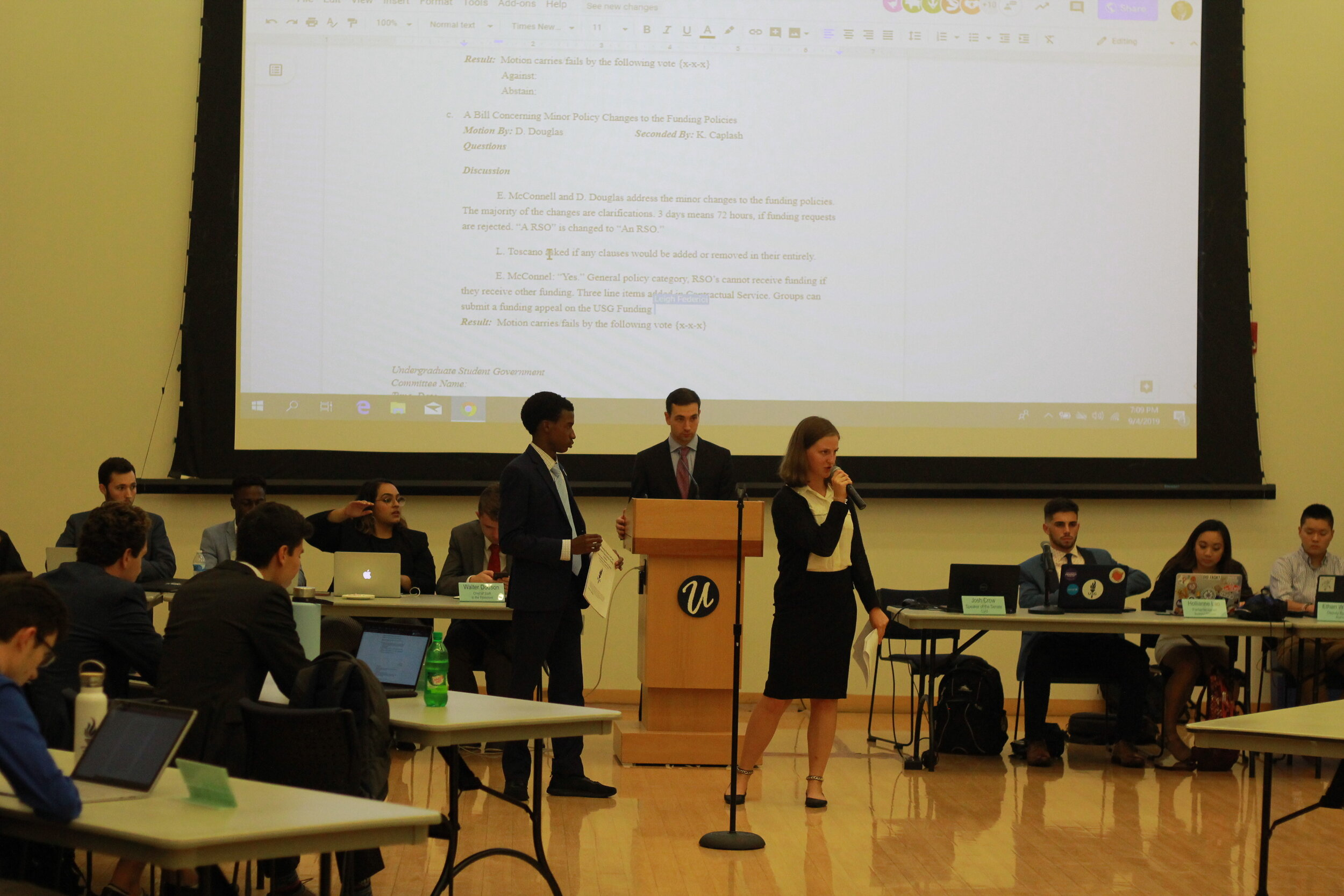 One of the first USG Senate meetings of the year begins with discussion over the editing of certain bylaws and procedures within the organization. Newly appointed staff members introduce themselves.    Photo by Matthew Pickett / The Daily Campus