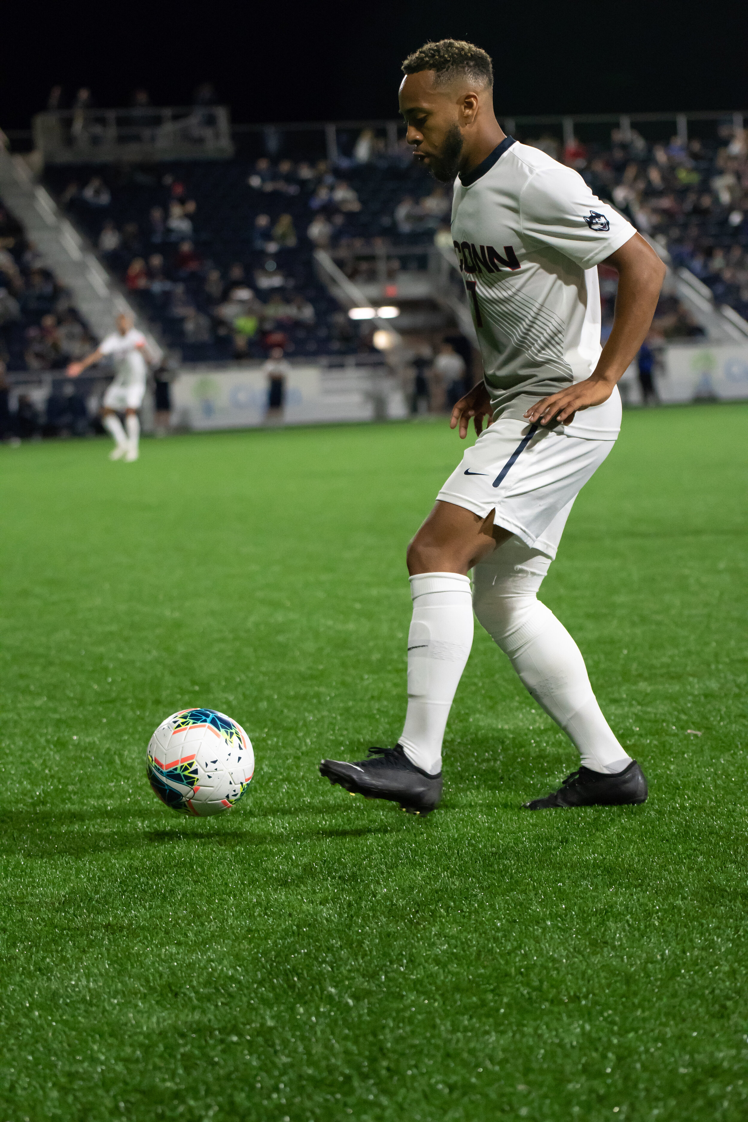 The UConn men's soccer team has yet to win a game with leading goal-scorer Jordan Hall, their next chance to do so will come against Cincinnati this weekend.  Photo by Kevin Lindstrom / The Daily Campus.