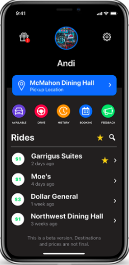 The beta interface of the new GogoDoggo app, a new ridesharing app for UConn.  All photos courtesy of Andi Duro.