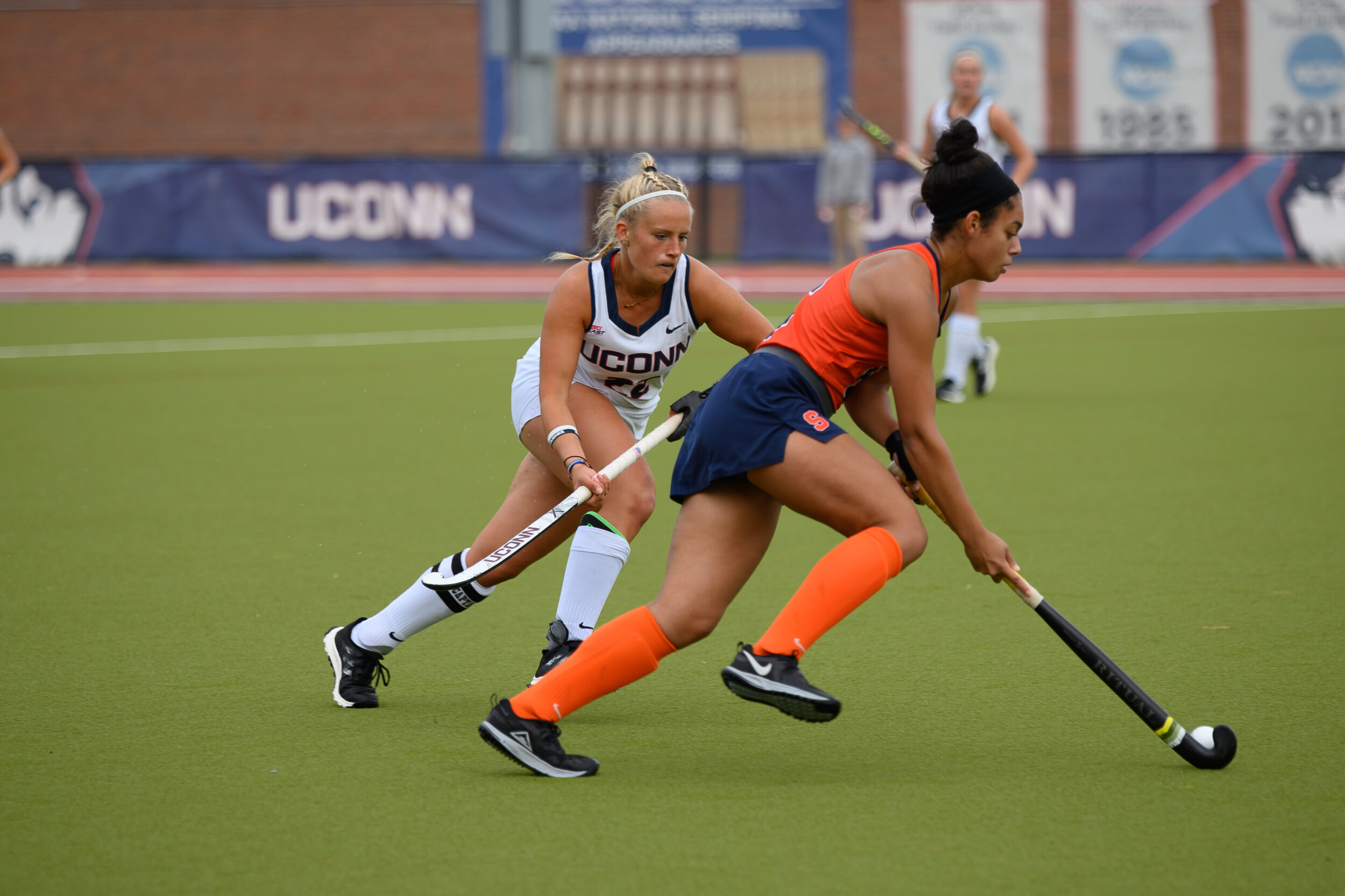 The UConn Field Hockey team took their third loss of the season during an intense game against Syracuse University on Sunday, Oct. 20. After going into two overtime periods with a tying score of 0-0, Syracuse won in a penalty shoot out.  Photo by Maggie Chafouleas/The Daily Campus