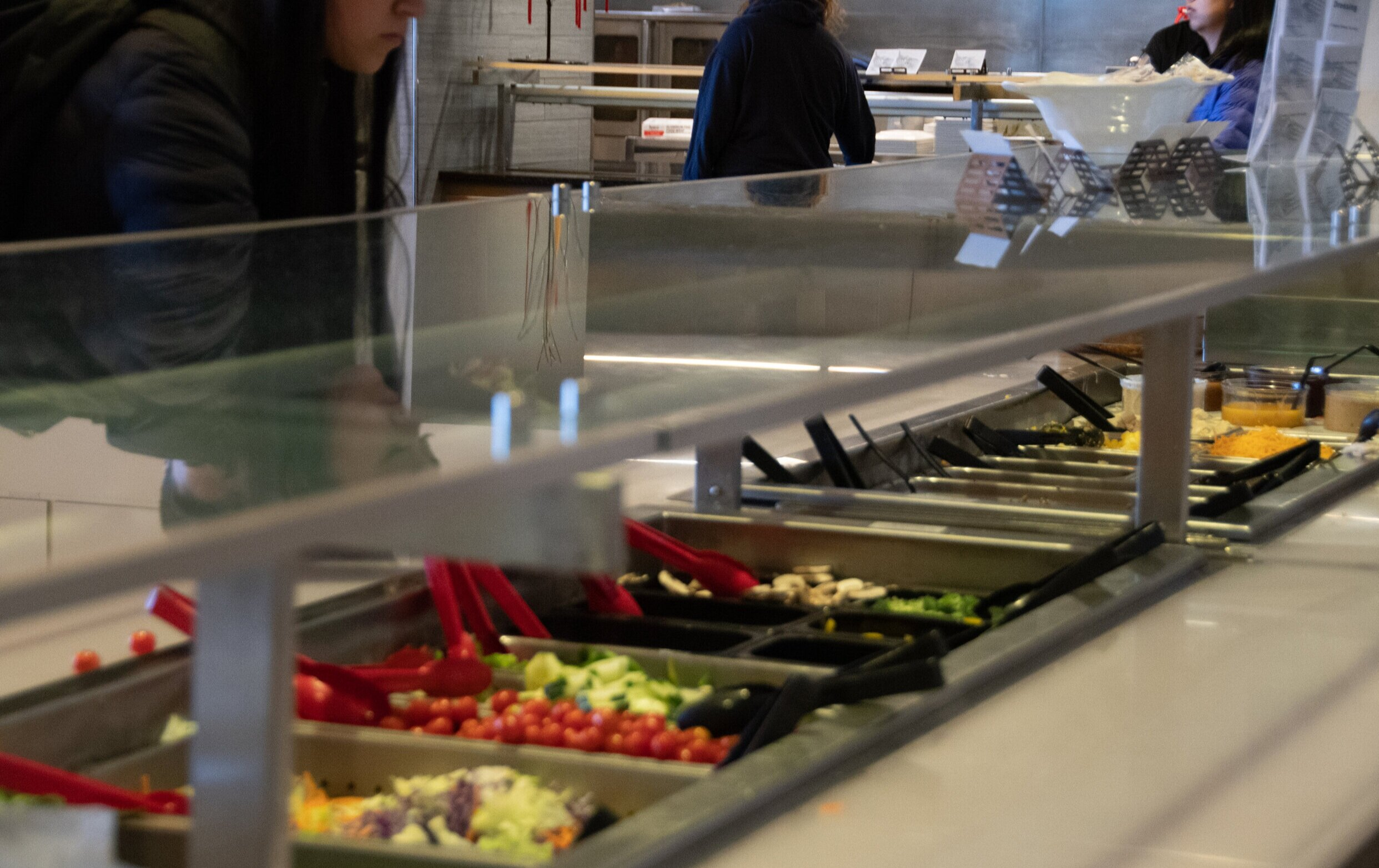 All of the dining halls offer salad and fresh fruits, which is good for people's efforts to eat healthy. But when we get past that, we see that there are very, very few options to eat healthy food in a dining hall that aren't just a salad.