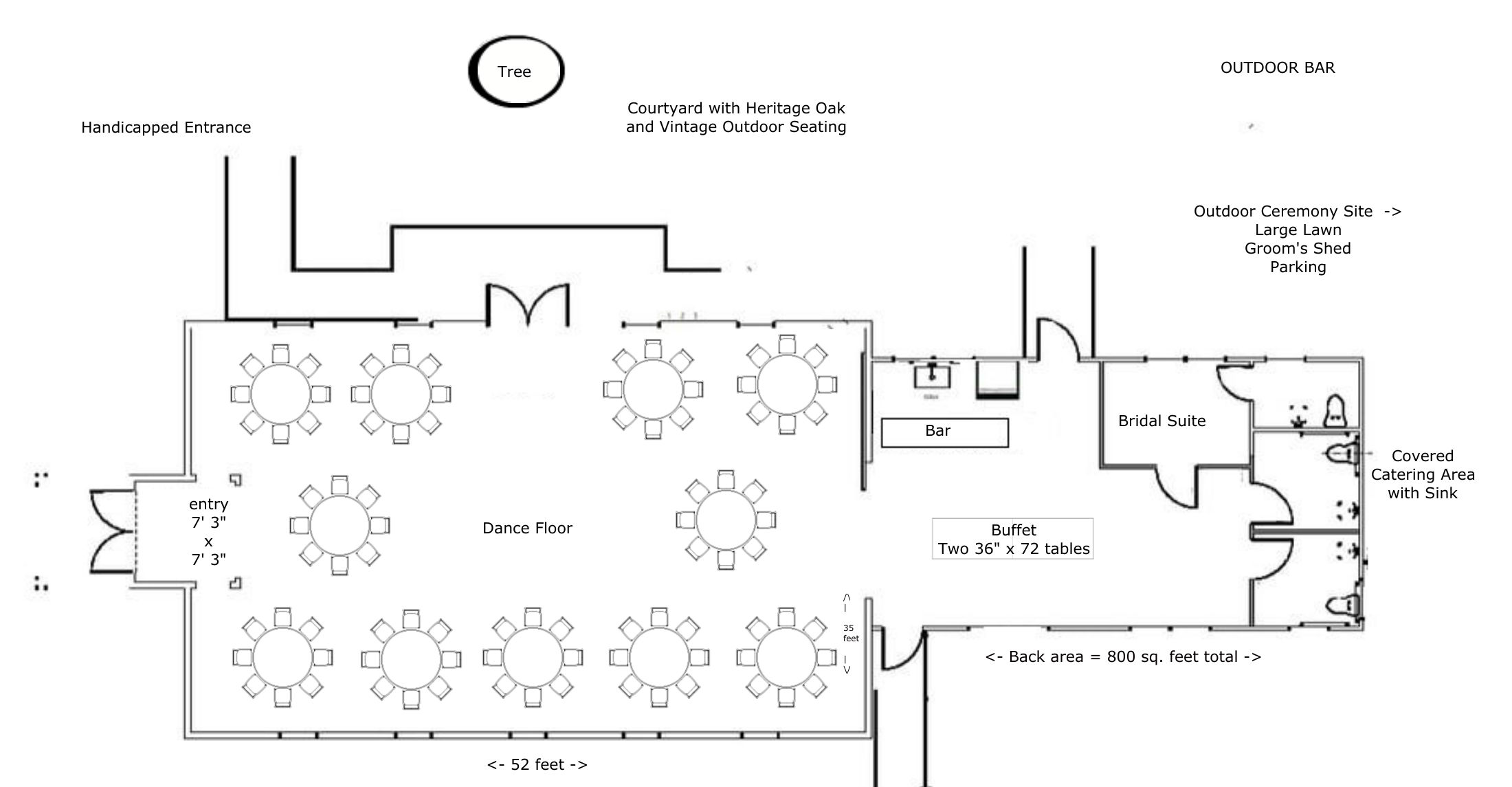 "Layout for 88-110 people using eleven 60"" Round Tables with 8-10 chairs per table"