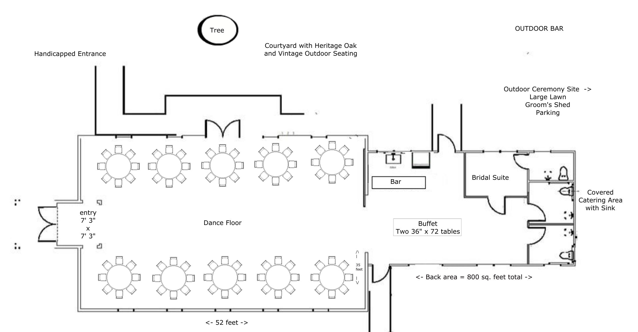 "Layout for 80-100 people using ten 60"" Round Tables with 8-10 chairs per table"