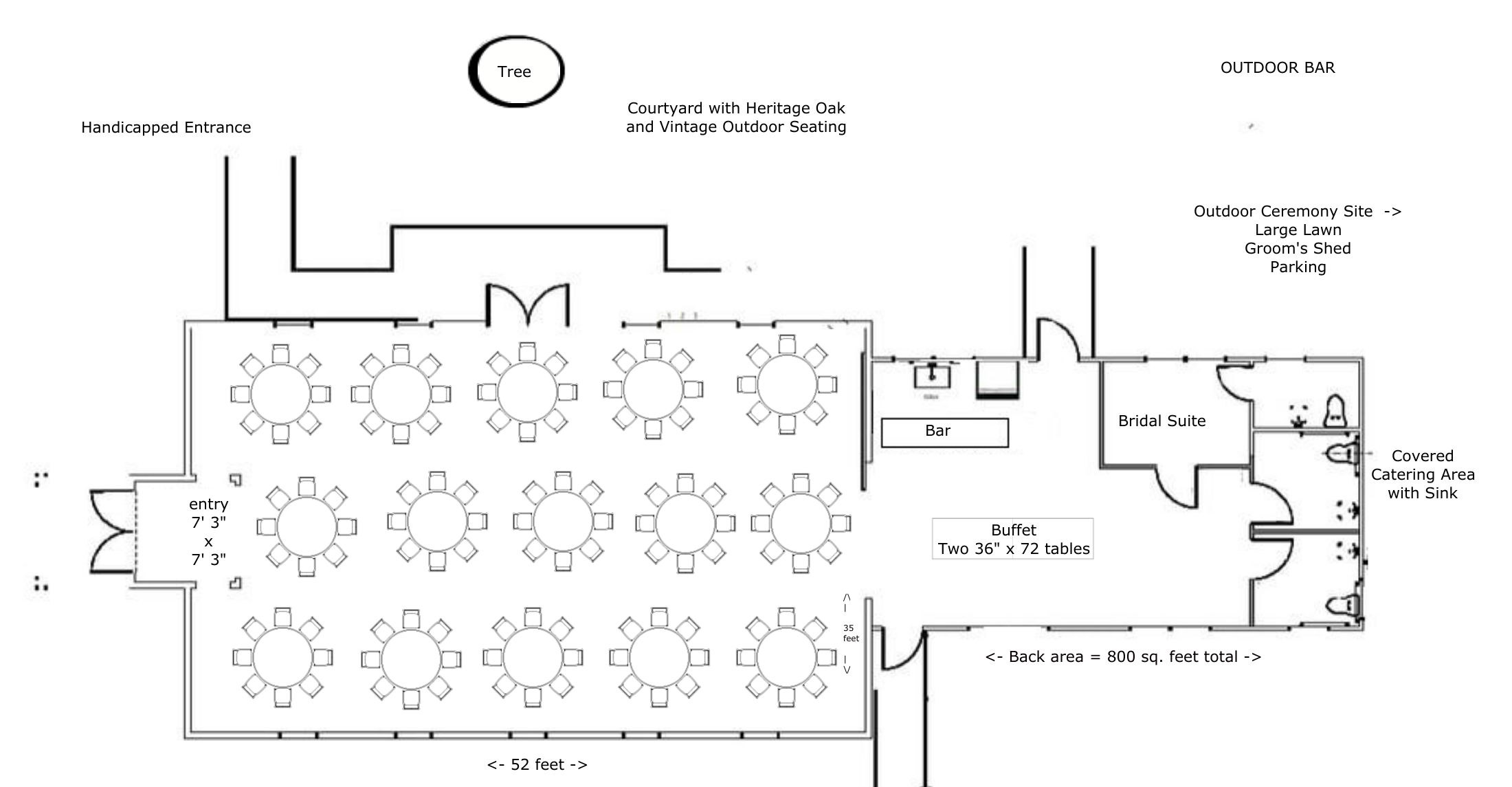 "Layout for 120-150 people using fifteen 60"" Round Tables with 8-10 chairs per table"