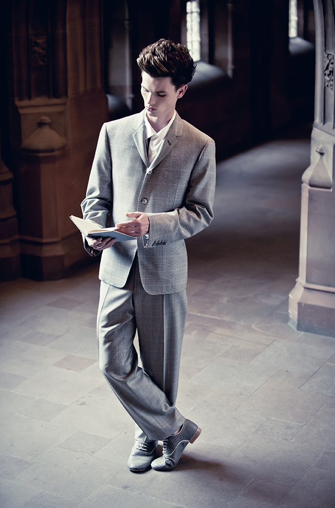 Fashion Editorial featured in Cheshire Resident Magazine  Stylist Nicky Rybka Goldsmith  Model Harry Nemesis Agency Manchester  MUA Tally Bookbinder  Location The Rylands Library Manchester