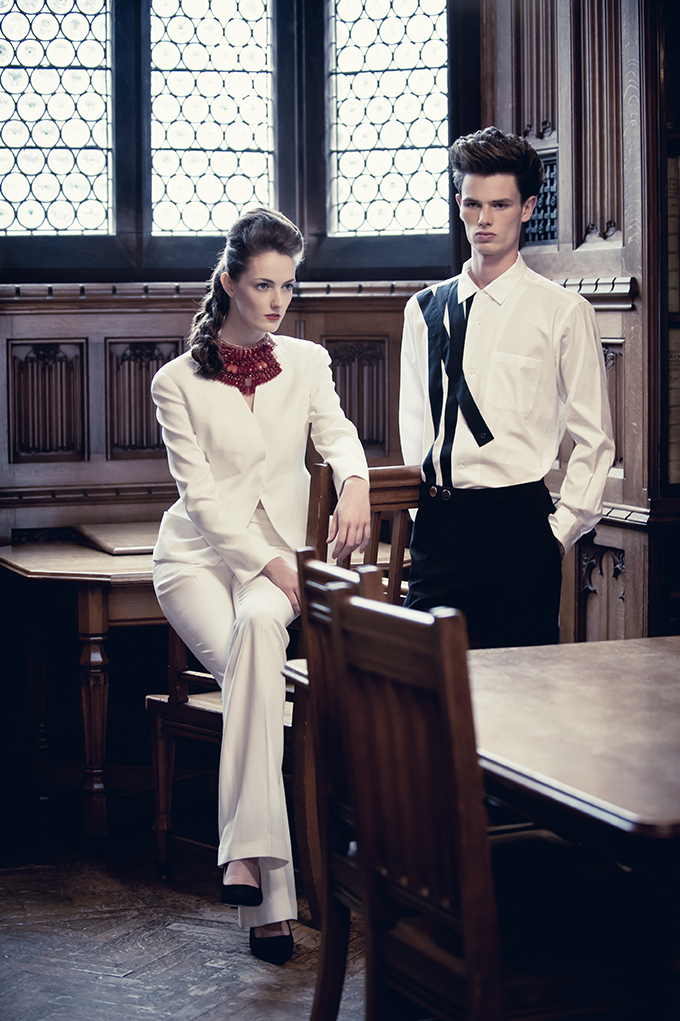 Fashion Editorial featured in Cheshire Resident Magazine  Stylist Nicky Rybka Goldsmith  Models Jane Duffy & Harry Nemesis Agency Manchester  MUA Tally Bookbinder  Location The Rylands Library Manchester